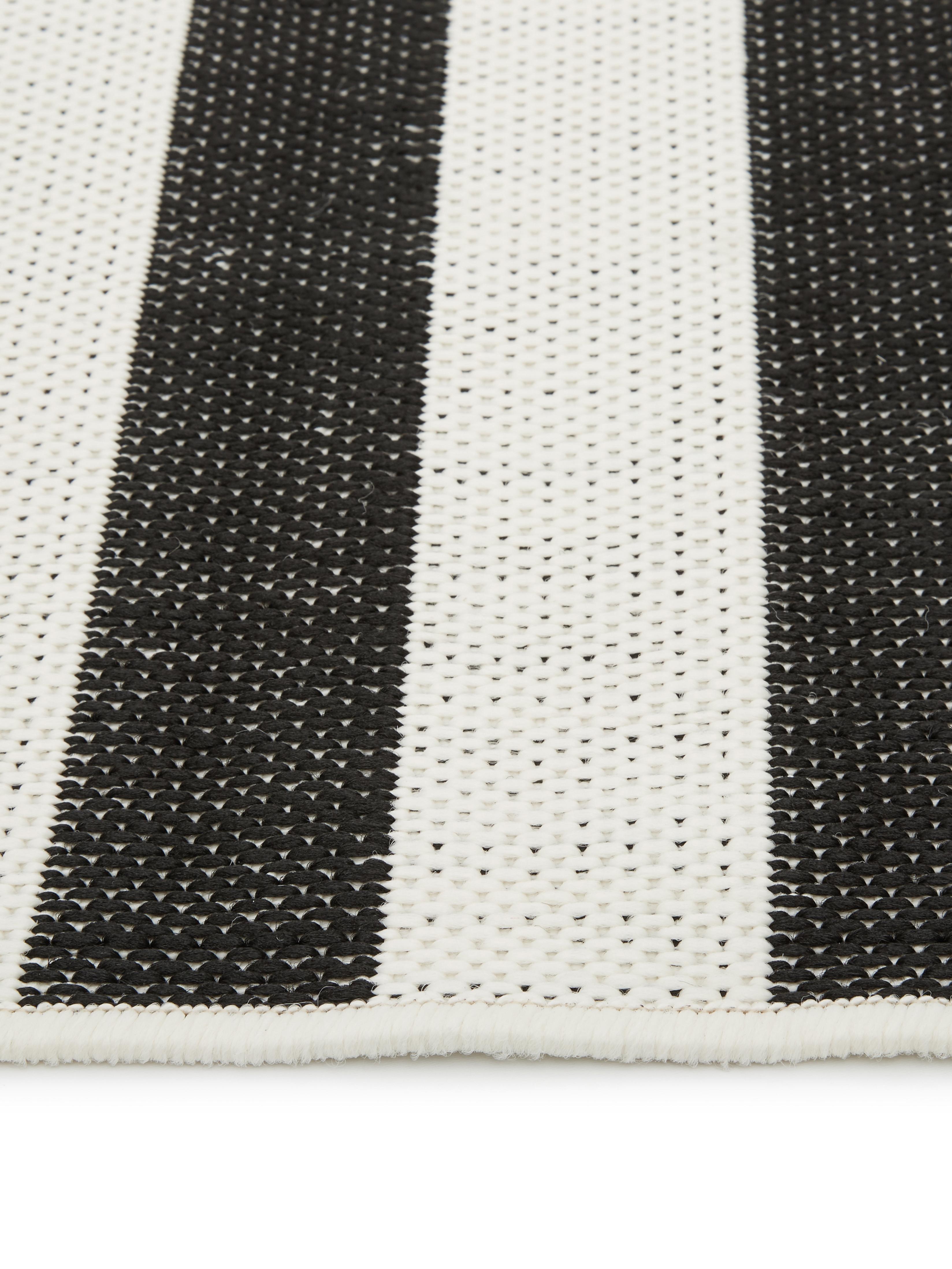 Gestreifter In- & Outdoor-Teppich Axa in Schwarz/Weiß, Flor: 100% Polypropylen, Cremeweiß, Schwarz, B 200 x L 290 cm (Größe L)