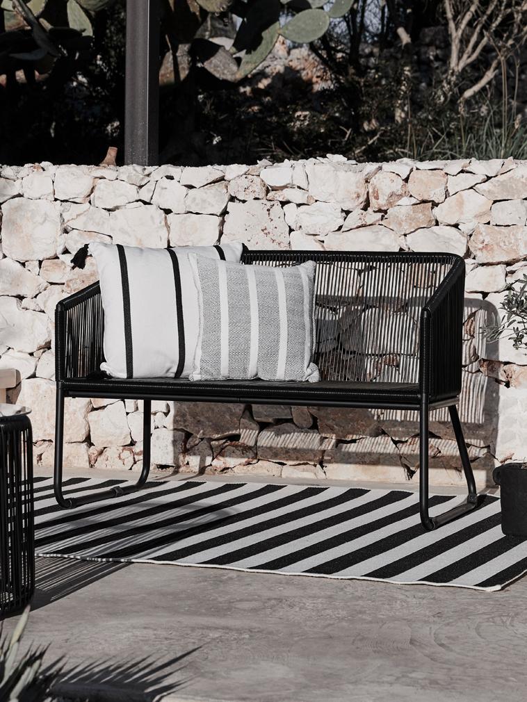 Tappeto da interno-esterno a righe Axa, Retro: poliestere, Bianco crema, nero, Larg. 200 x Lung. 290 cm  (taglia L)