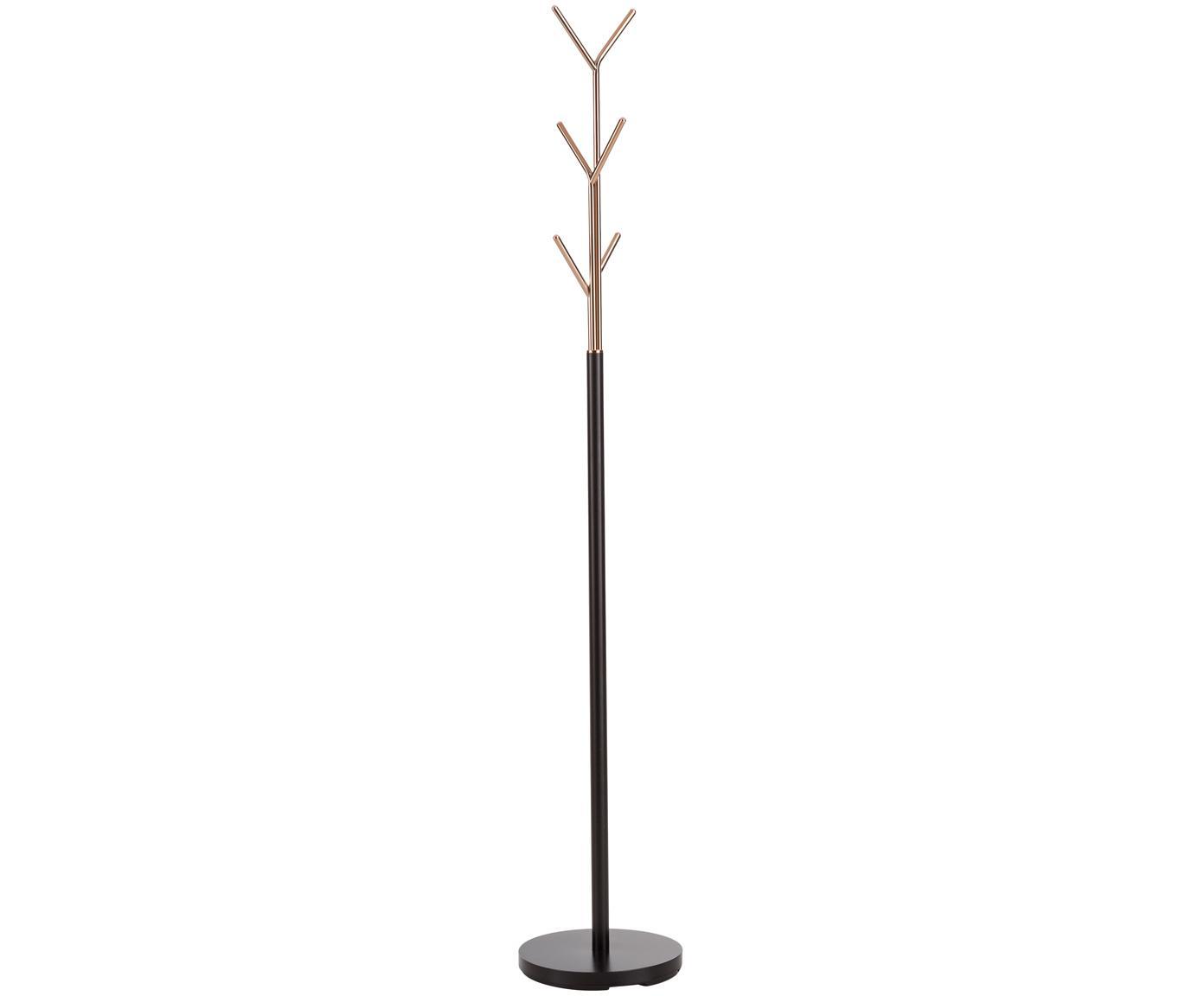 Perchero de pie London, 6ganchos, Estructura: acero tubular con pintura, Negro,cobre, Ø 31 x Al 177 cm