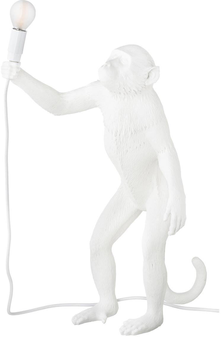 Zewnętrzna lampa stołowa LED Monkey, Żywica syntetyczna, Biały, S 46 x W 54 cm