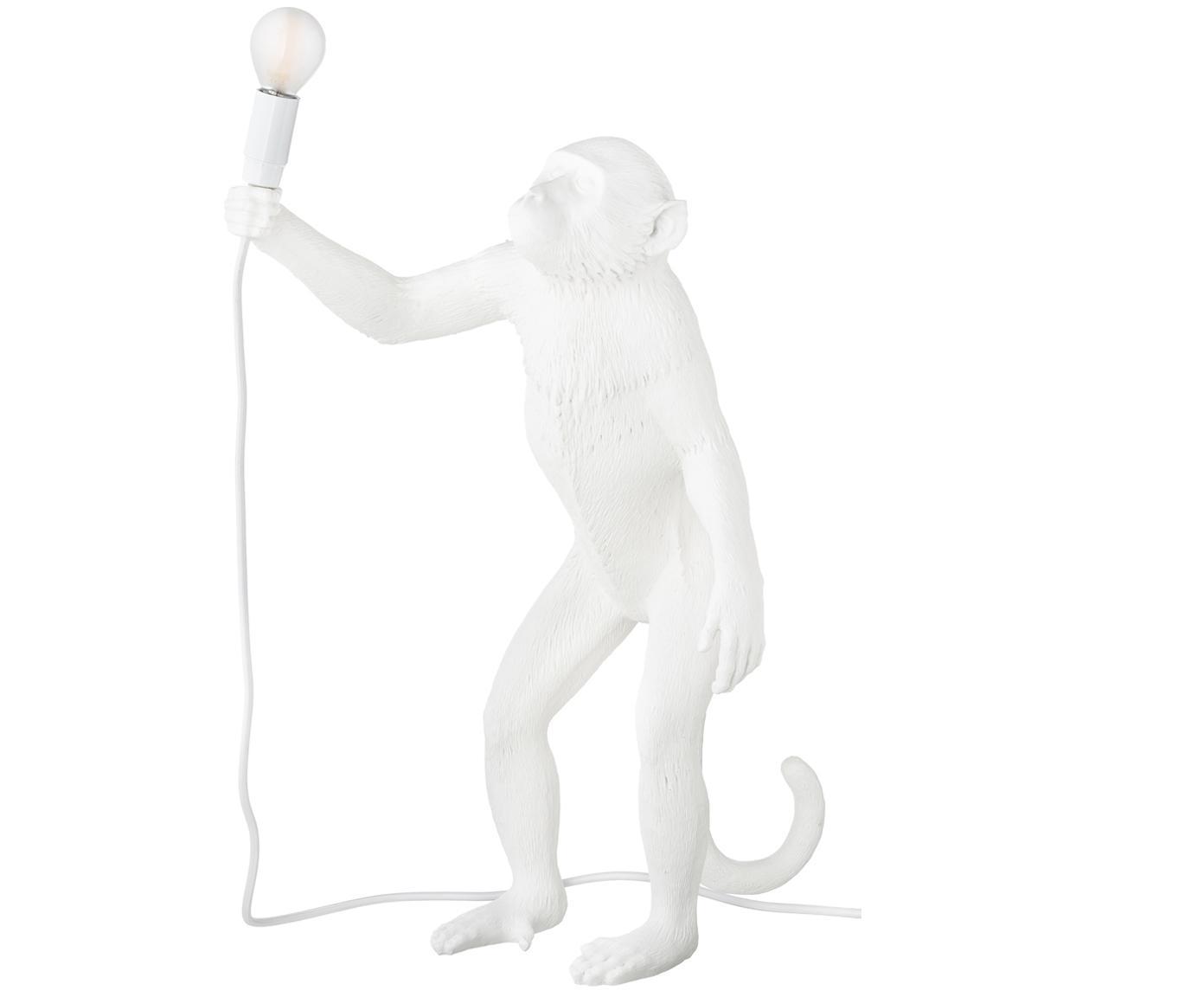 Lámpara de mesa LED para exterior Monkey, Resina, Blanco, An 46 x Al 54 cm
