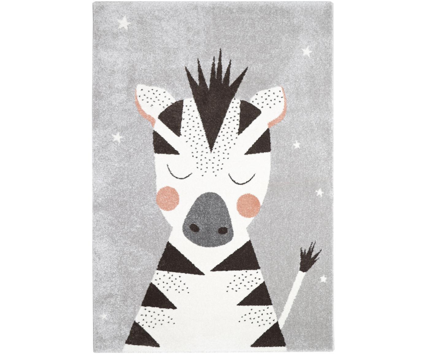 Tappeto in polipropilene con zebra Kika, Polipropilene, Grigio, nero, bianco, rosa, Larg. 120 x Lung. 170 cm