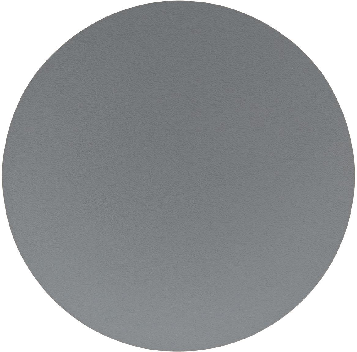 Manteles individuales redondos de cuero sintético Pik, 2uds., Plástico (PVC) es aspecto de cuero, Gris antracita, Ø 38 cm