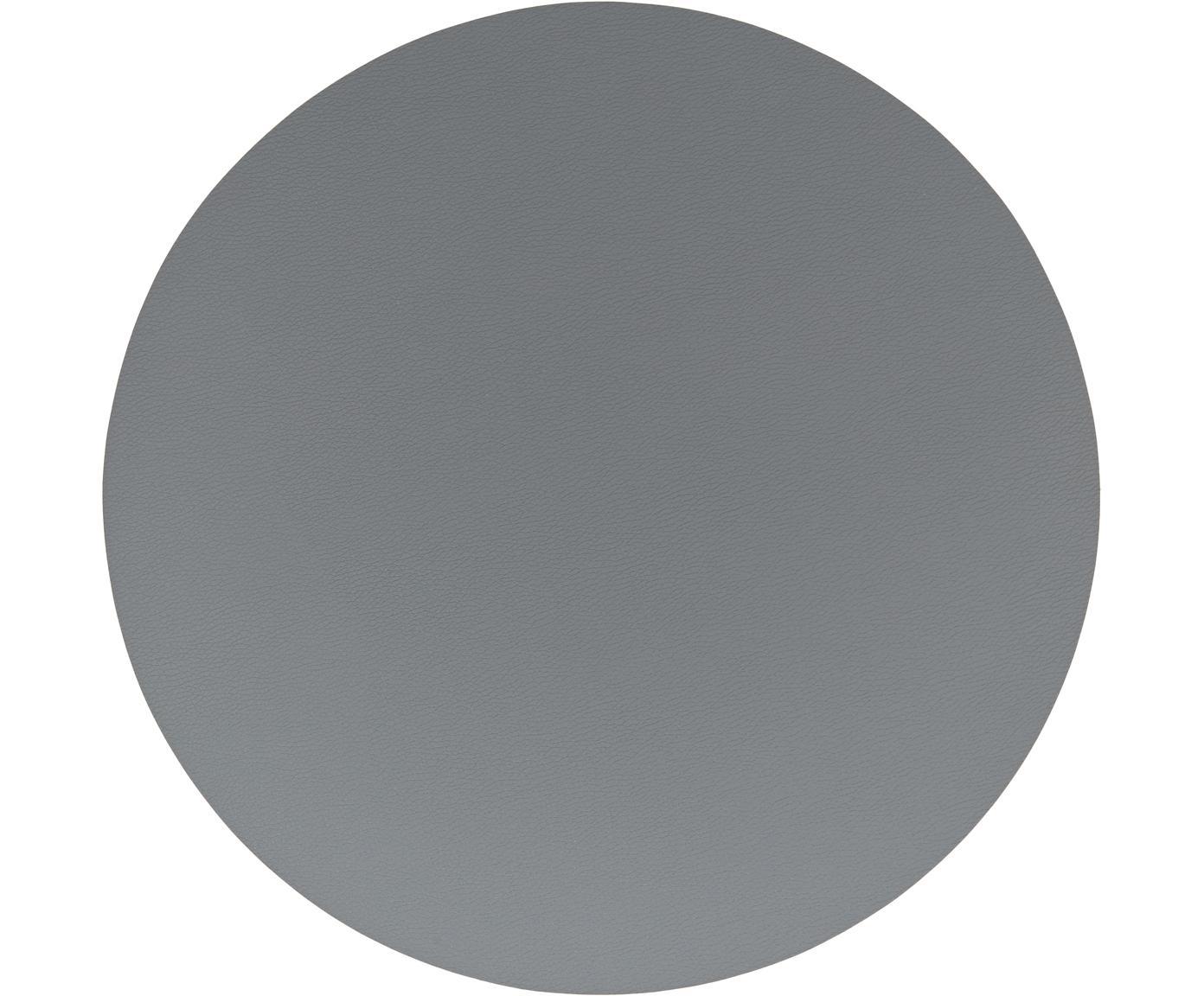 Ronde kunststoffen placemats Pik van kunstleer, 2 stuks, Kunststof (PVC) van kunstleer, Antraciet, Ø 38 cm