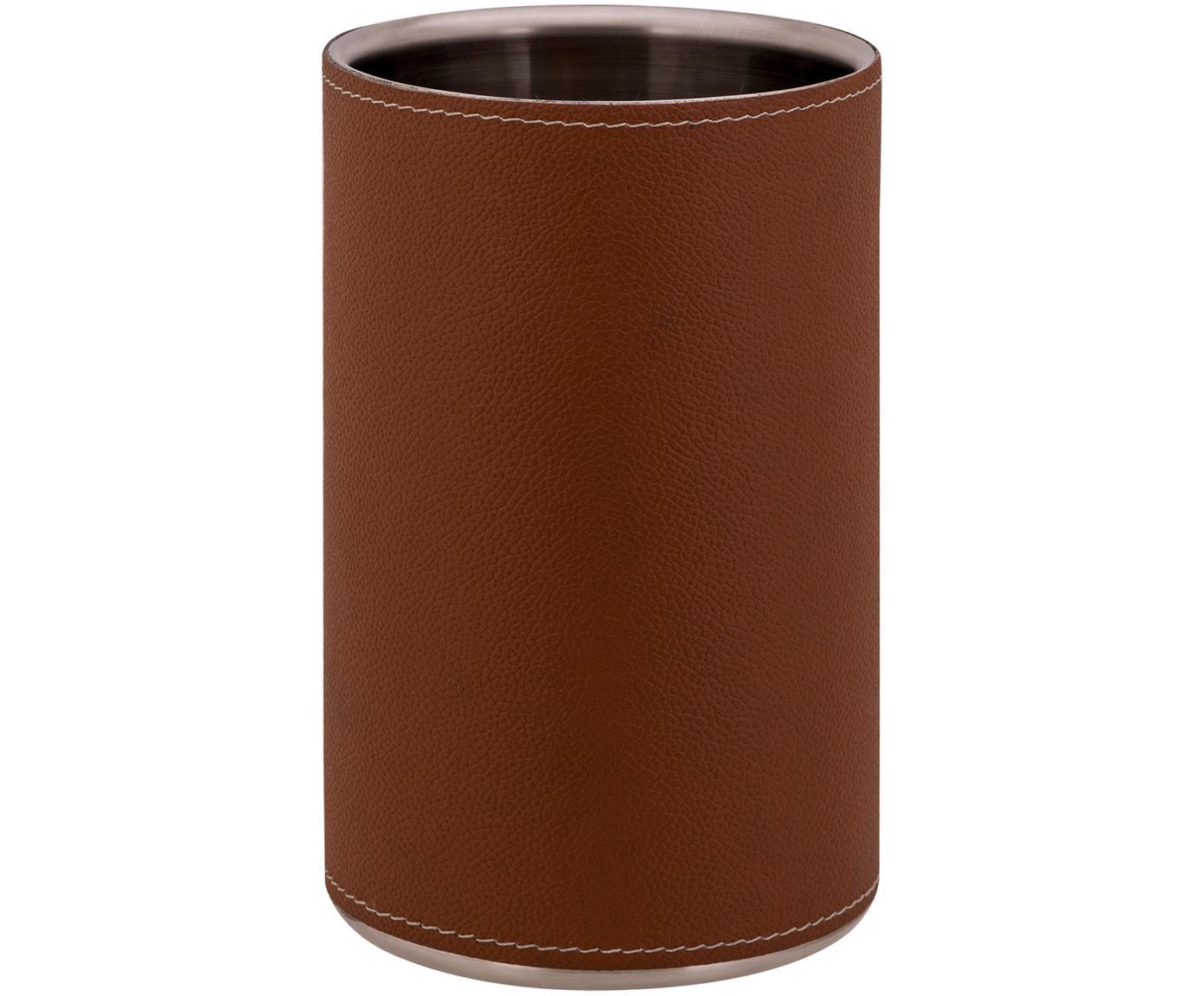 Raffreddatore di bottiglie Lahore con pelle marrone, Rivestimento: pelle, Marrone, acciaio, Ø 12 x Alt. 20 cm