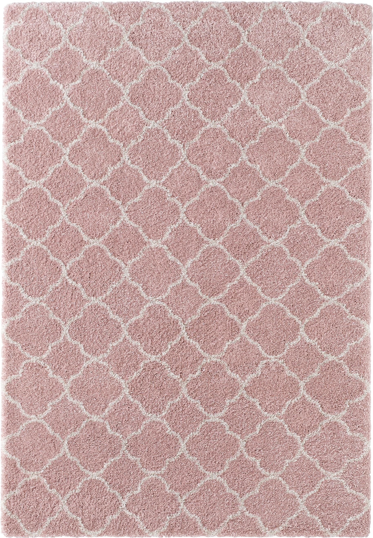 Hochflor-Teppich Grace in Rosa/Creme, Flor: 100% Polypropylen, Altrosa, Creme, B 160 x L 230 cm (Größe M)