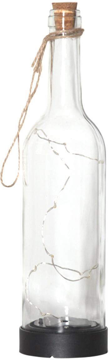 LED Solar-Leuchtobjekt Bottle, Flasche: Glas, Henkel: Jute, Transparent, Ø 8 x H 31 cm