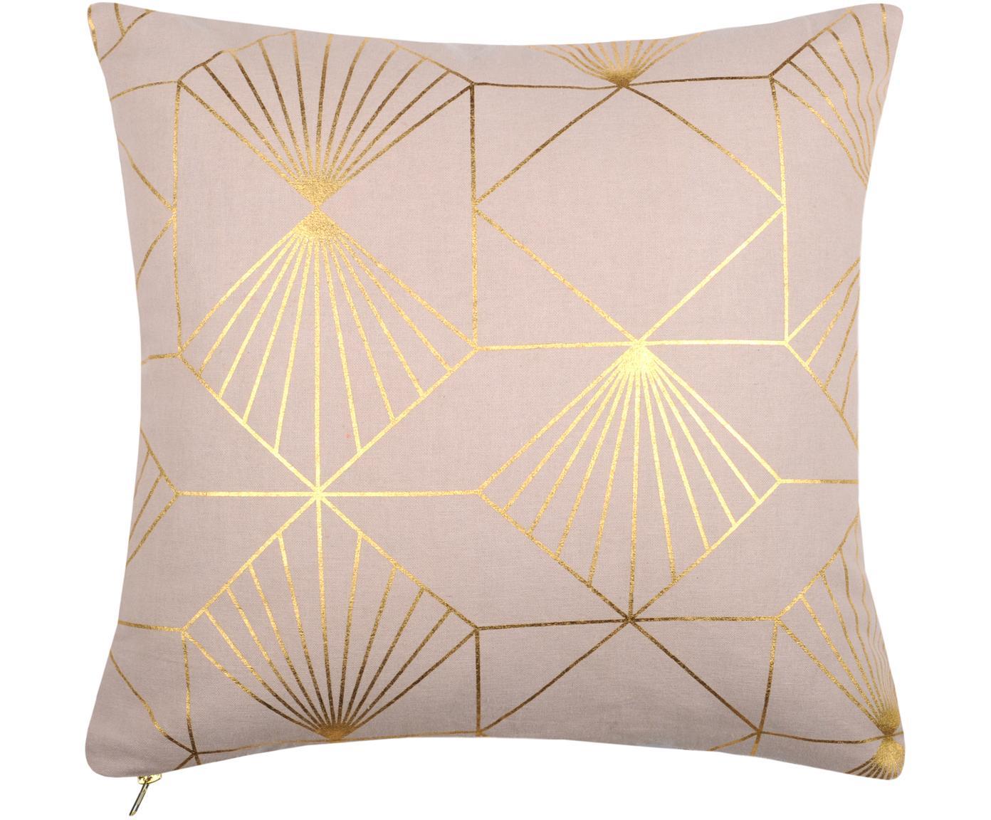 Cuscino con imbottitura e motivo dorato Scandi, Rivestimento: cotone, Rosa cipra, dorato, Larg. 40 x Lung. 40 cm