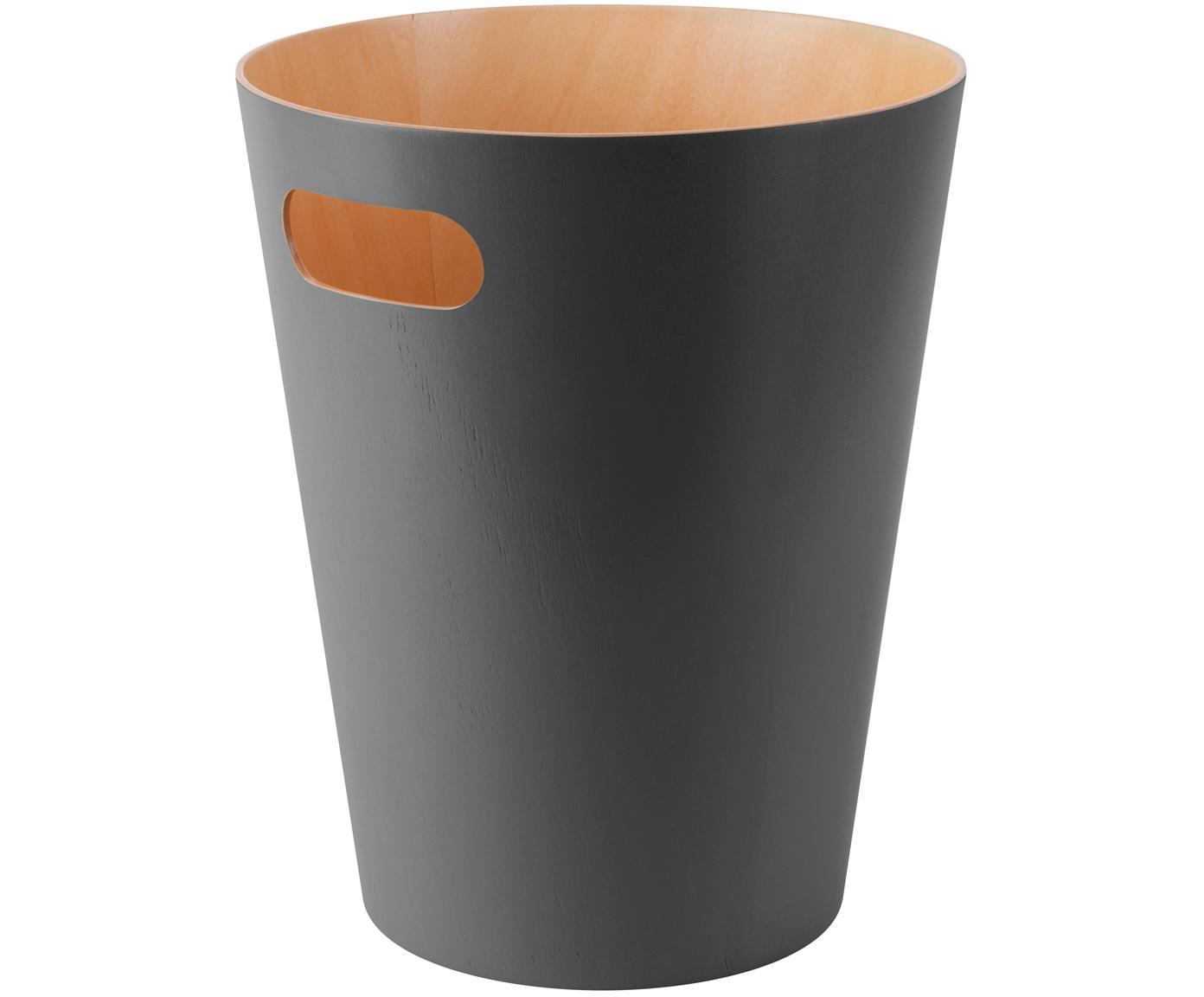 XS papiermand Woodrow Can, Gelakt hout, Antraciet, Ø 23 x H 28 cm
