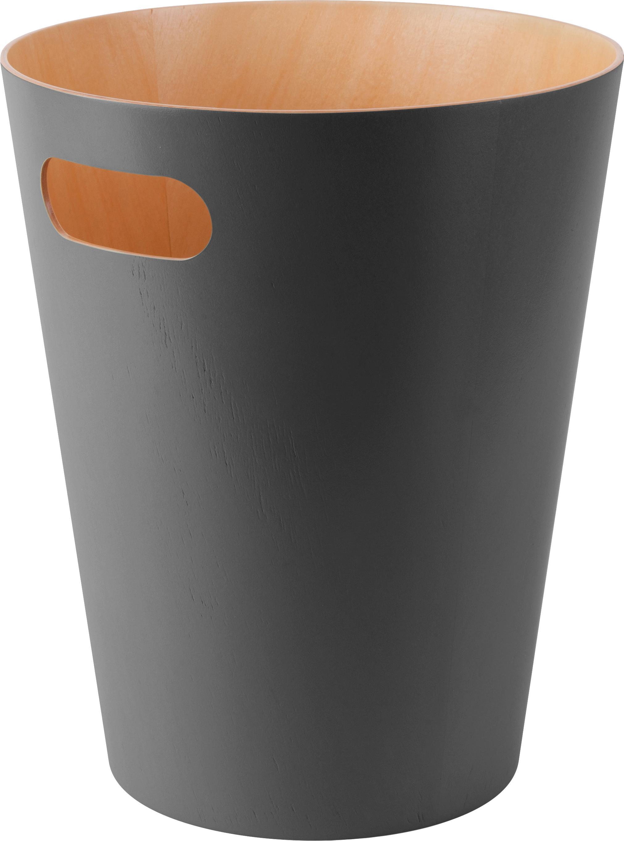 PapeleraWoodrow Can, Madera pintada, Gris antracita, Ø 23 x Al 28 cm