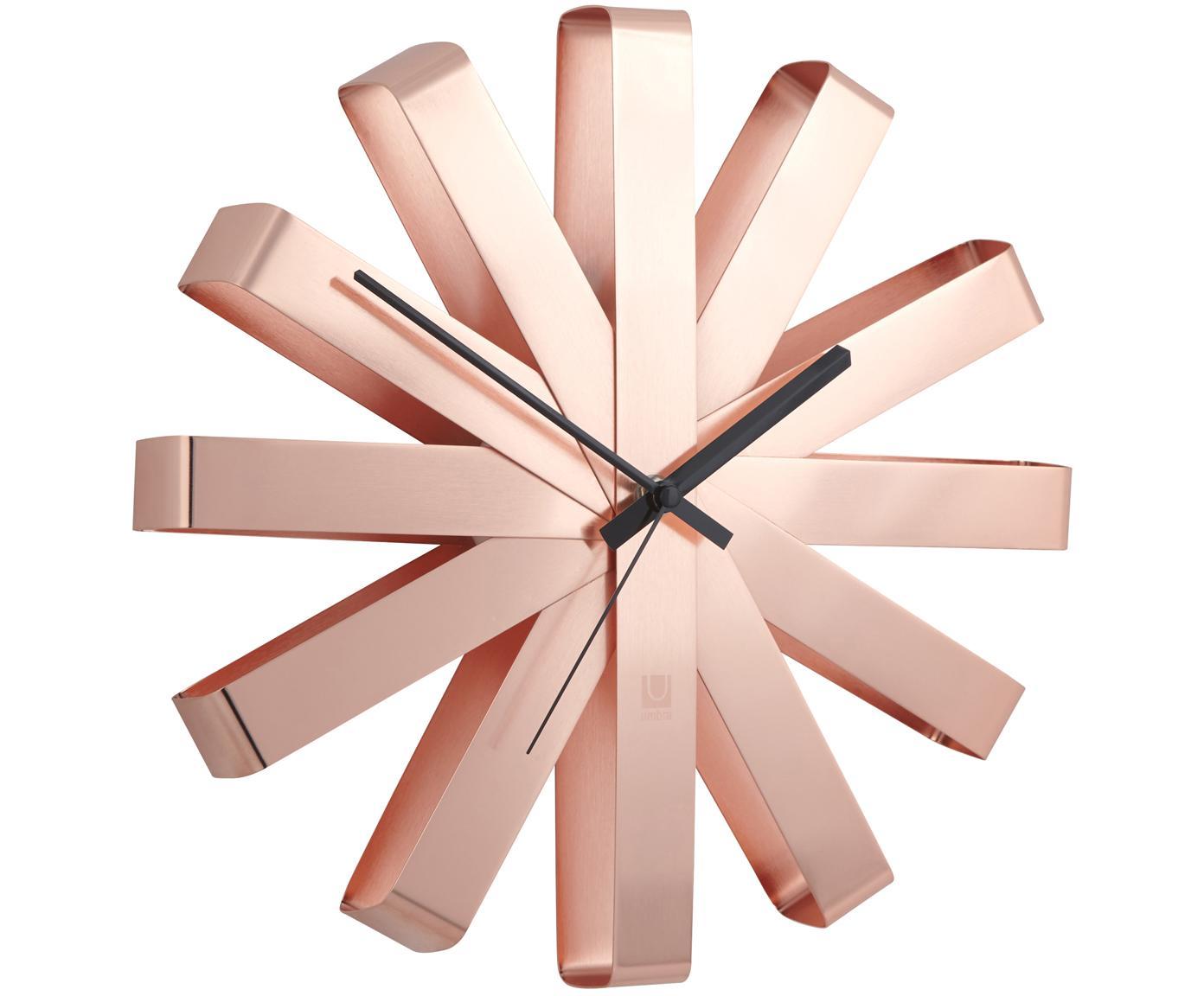 Zegar ścienny Ribbon, Odcienie miedzi, czarny, Ø 30 cm
