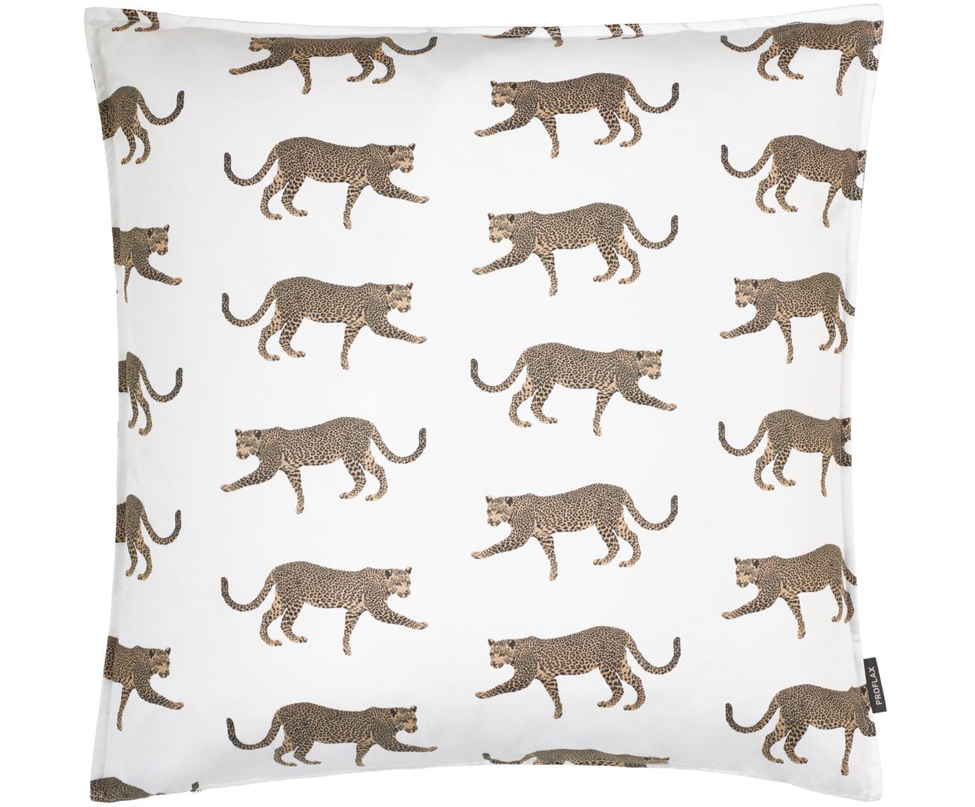 Federa arredo con motivo leopardato Tambo, Cotone, Bianco latteo, beige, nero, Larg. 50 x Lung. 50 cm
