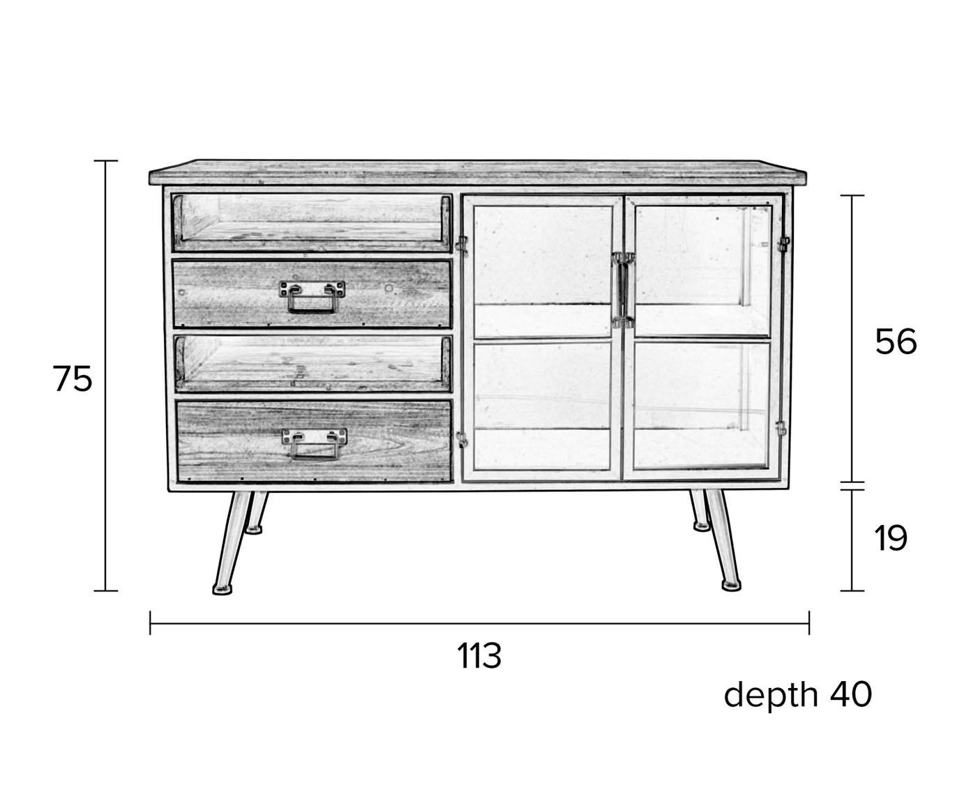 Kommode Damian aus Holz und Metall, Schrankboden, Gestell, Griffe, Füsse: GrauSchubladen: Tannenholz, 113 x 75 cm
