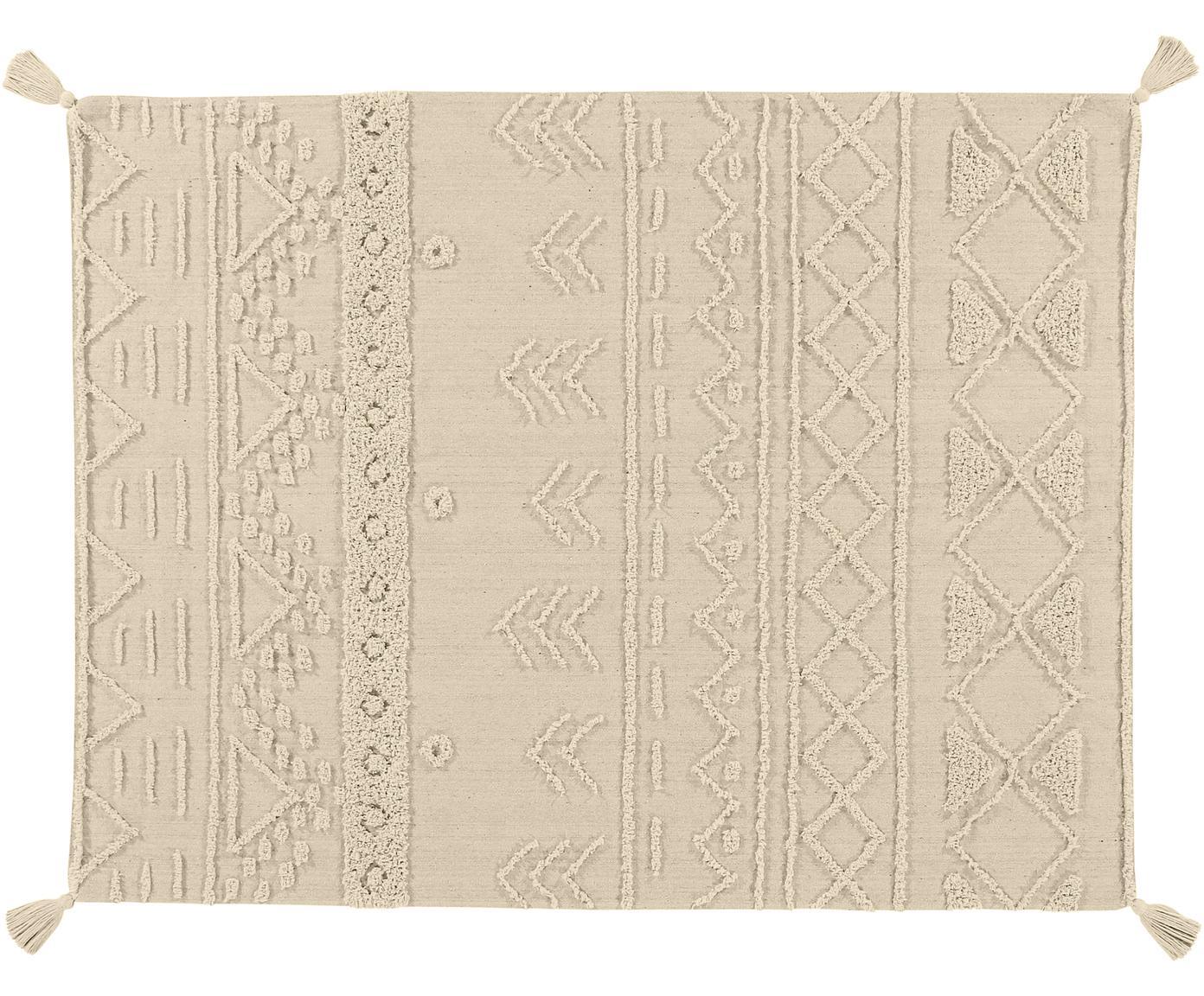 Alfombra texturizada Tribu, estilo étnico, Parte superior: 97%algodón reciclado, 3%, Reverso: algodón reciclado, Gris, beige, An 120 x L 160 cm (Tamaño S)