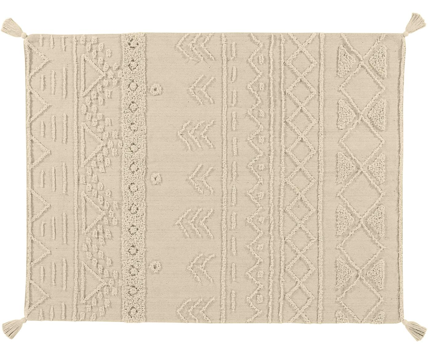 Ethno Teppich Tribu mit getuftetem Muster, Flor: 97% recycelte Baumwolle, , Grau, Beige, B 120 x L 160 cm (Größe S)