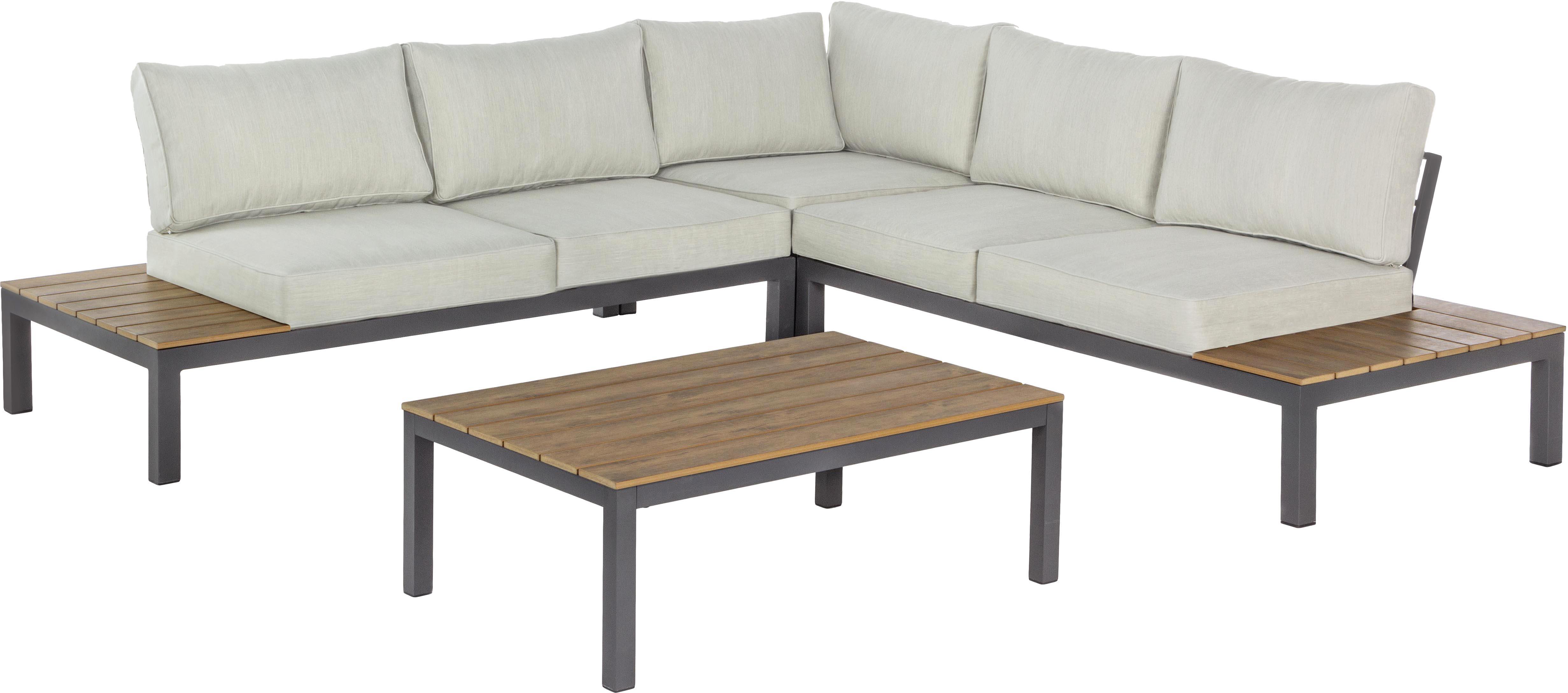 Set lounge de exterior Elias, 3pzas., Tapizado: poliéster, resistente al , Estructura: aluminio con pintura en p, Crema, antracita, An 246 x F 246 cm