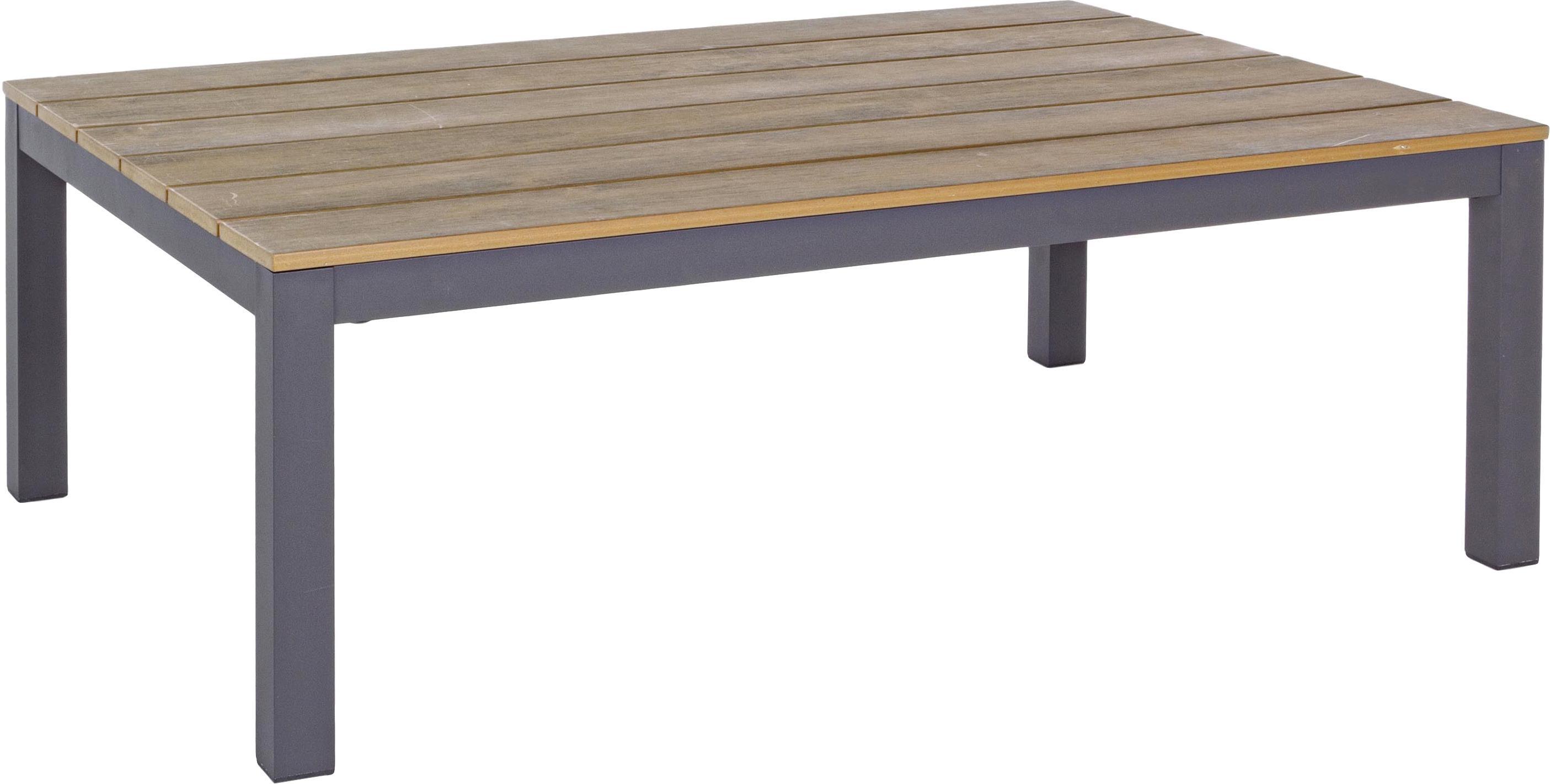 Tuin loungeset Elias, 4-delig, Frame: gepoedercoat en corrosieb, Plateaus: kunststof in hout-optiek, Crèmekleurig, antraciet, B 246  x D 246 cm