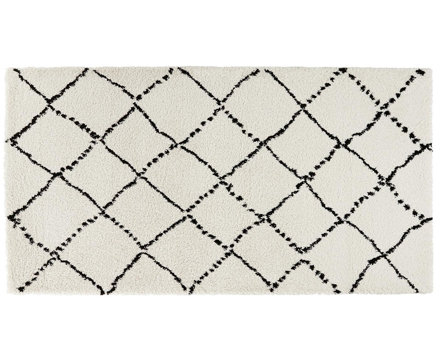 Tappeto soffice in crema e nero Hash, Retro: iuta, Color crema, nero, L 150 x P 80 cm