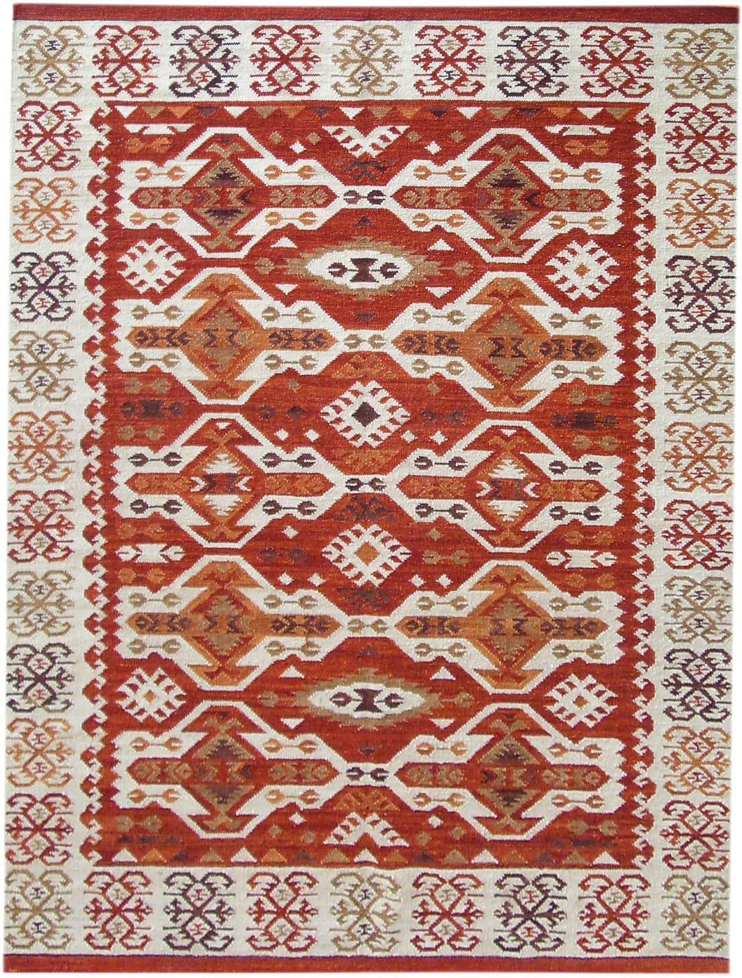 Handgeweven kelim vloerkleed Ria van wol, 100% wol, Rood, beige, oranje, bruin, B 120 x L 180 cm (maat S)