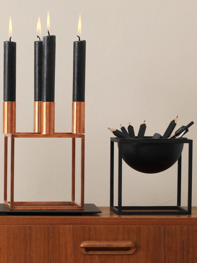 Schale Kubus, Stahl, lackiert, Schwarz, 14 x 14 cm
