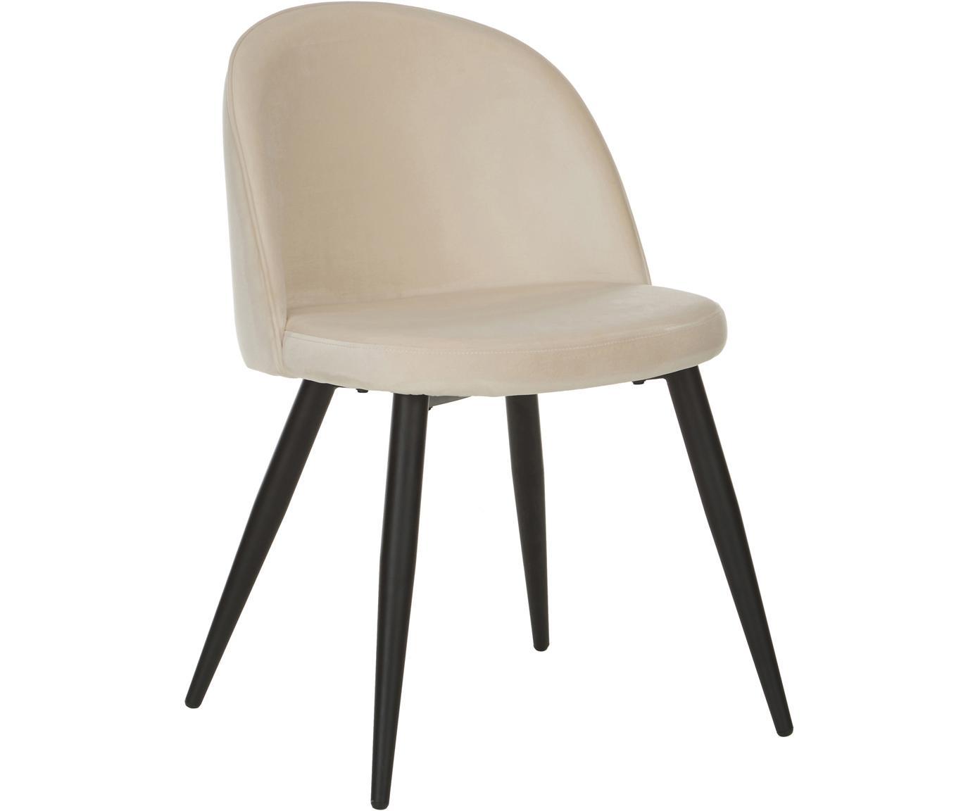 Moderne fluwelen stoelen Amy, 2 stuks, Bekleding: fluweel (polyester), Poten: gepoedercoat metaal, Crèmewit, B 51 x D 55 cm