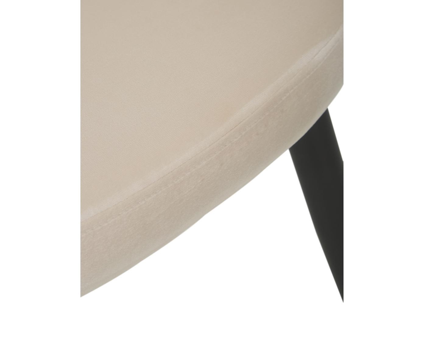 Moderne Samt-Polsterstühle Amy, 2 Stück, Bezug: Samt (Polyester) 25.000 S, Beine: Metall, pulverbeschichtet, Cremeweiß, B 51 x T 55 cm