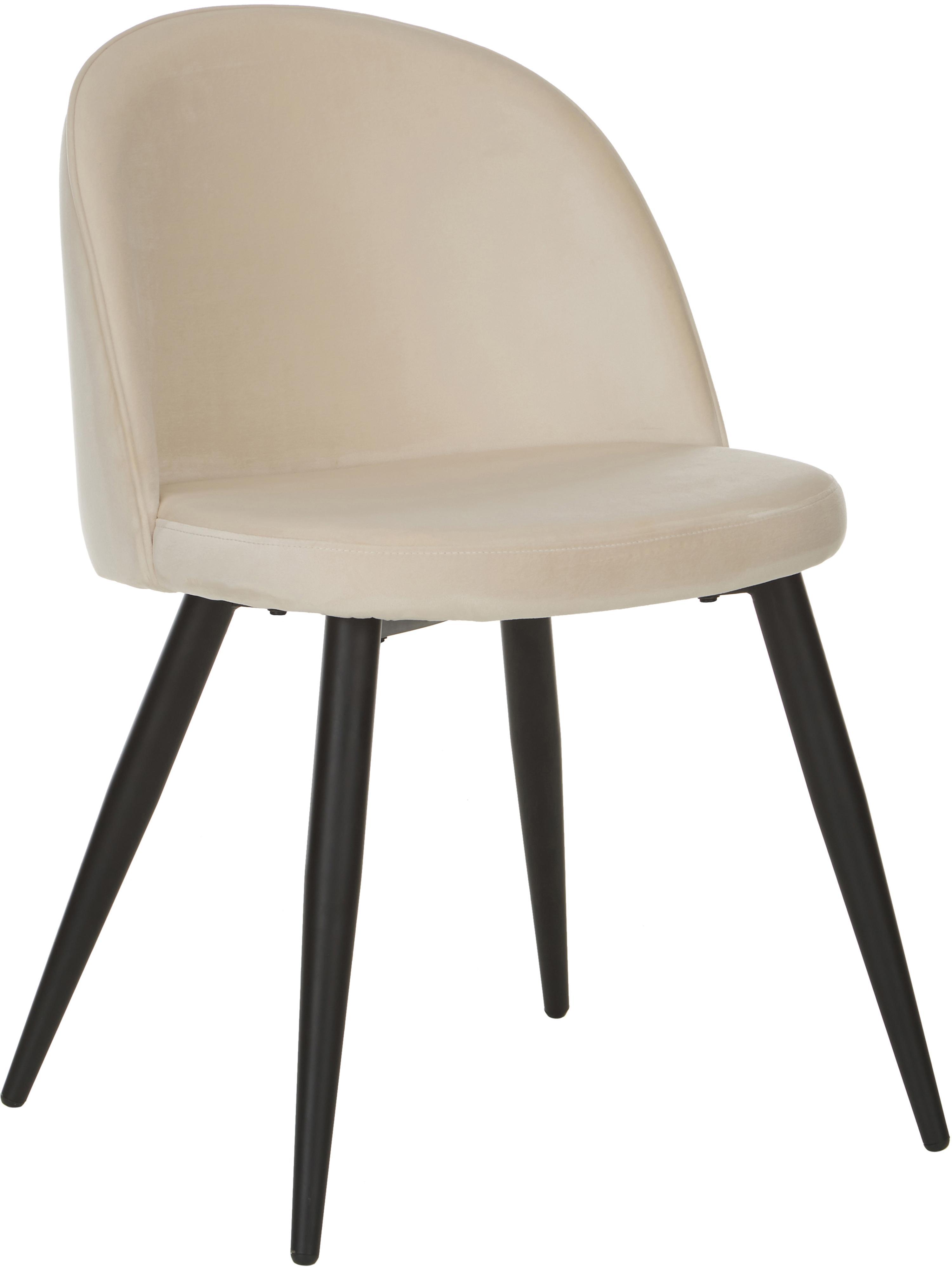 Sedia imbottita in velluto Amy 2 pz, Rivestimento: velluto (poliestere) 25.0, Gambe: metallo verniciato a polv, Bianco crema, Larg. 51 x Prof. 55 cm