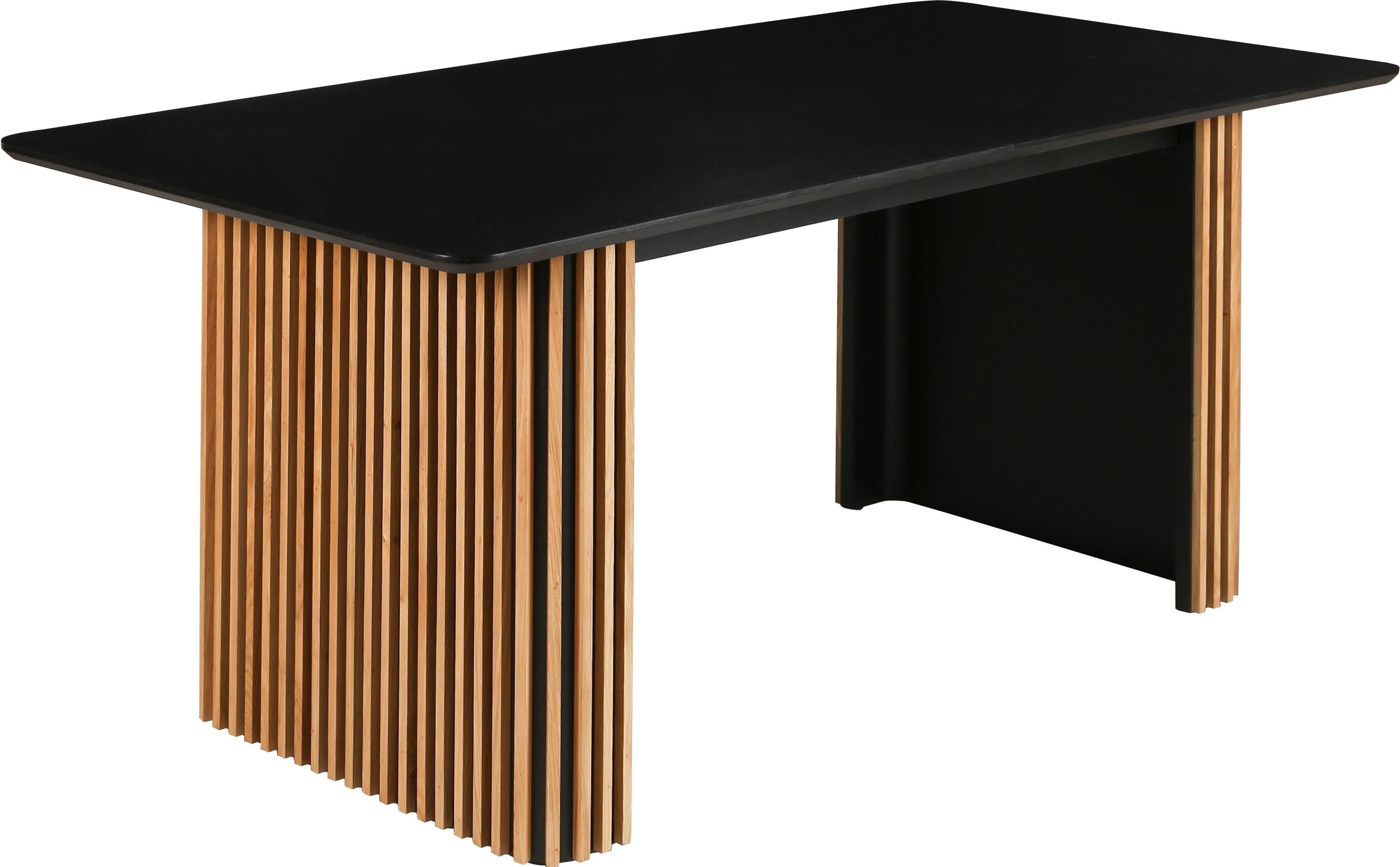 Mesa de comedor extensible Linea, Negro, roble, An 180-230 x F 75 cm