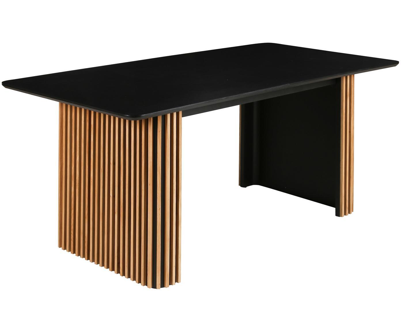 Verlängerbarer Esstisch Linea in Schwarz, Schwarz, Eichenholz, B 180 bis 230 x T 90 cm