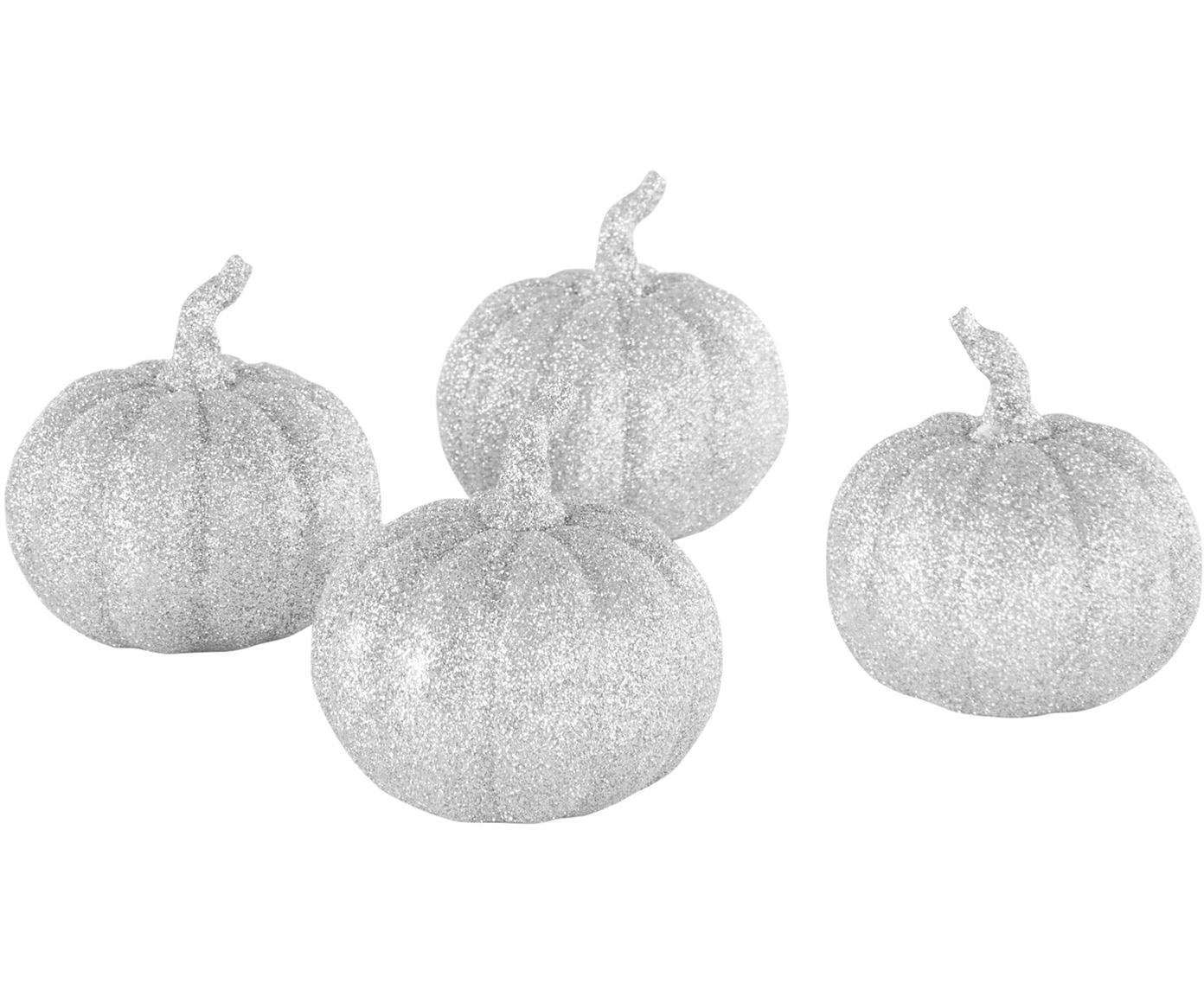 Deko-Kürbis Dixie, 4 Stück, Polyresin, Silberfarben, Ø 9 x H 9 cm