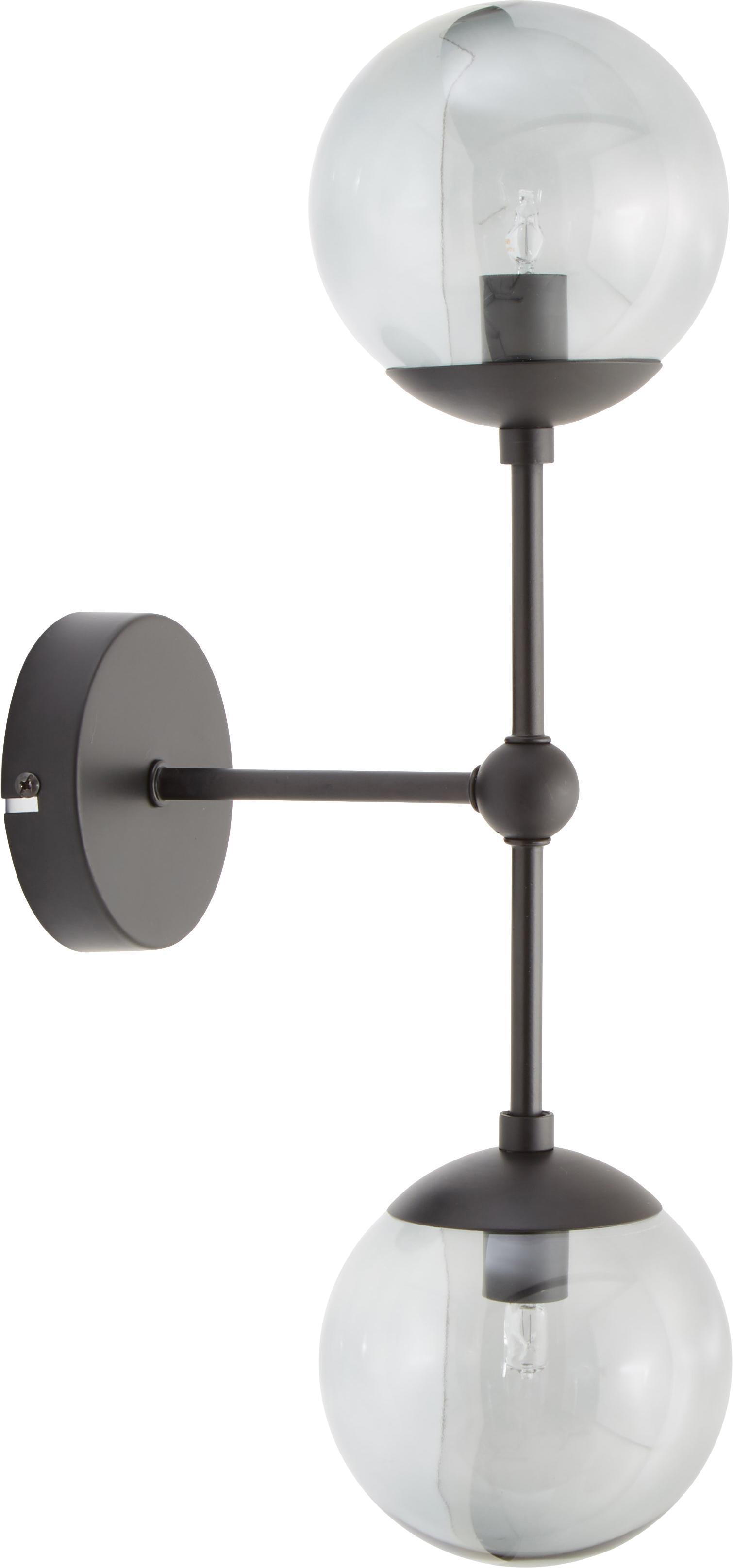 Wandlamp Beth, Lampenkap: glas, Grijs, zwart, Ø 12 x H 45 cm