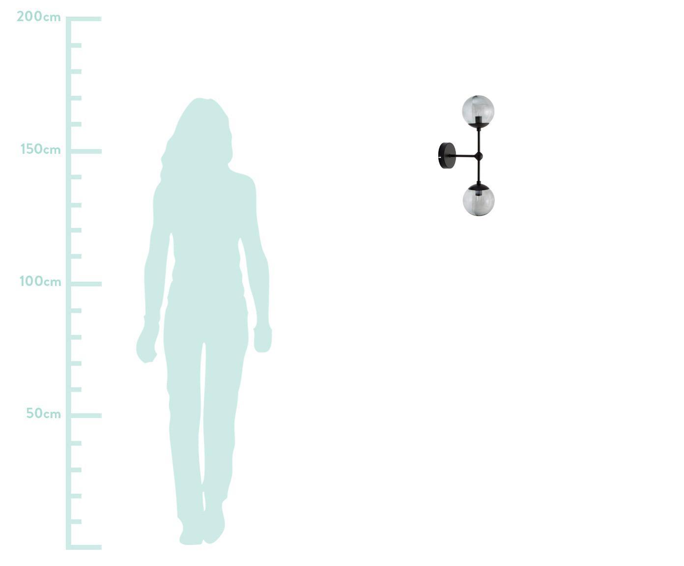 Applique Beth, Paralume: vetro, Grigio, nero, Ø 12 x Alt. 45 cm