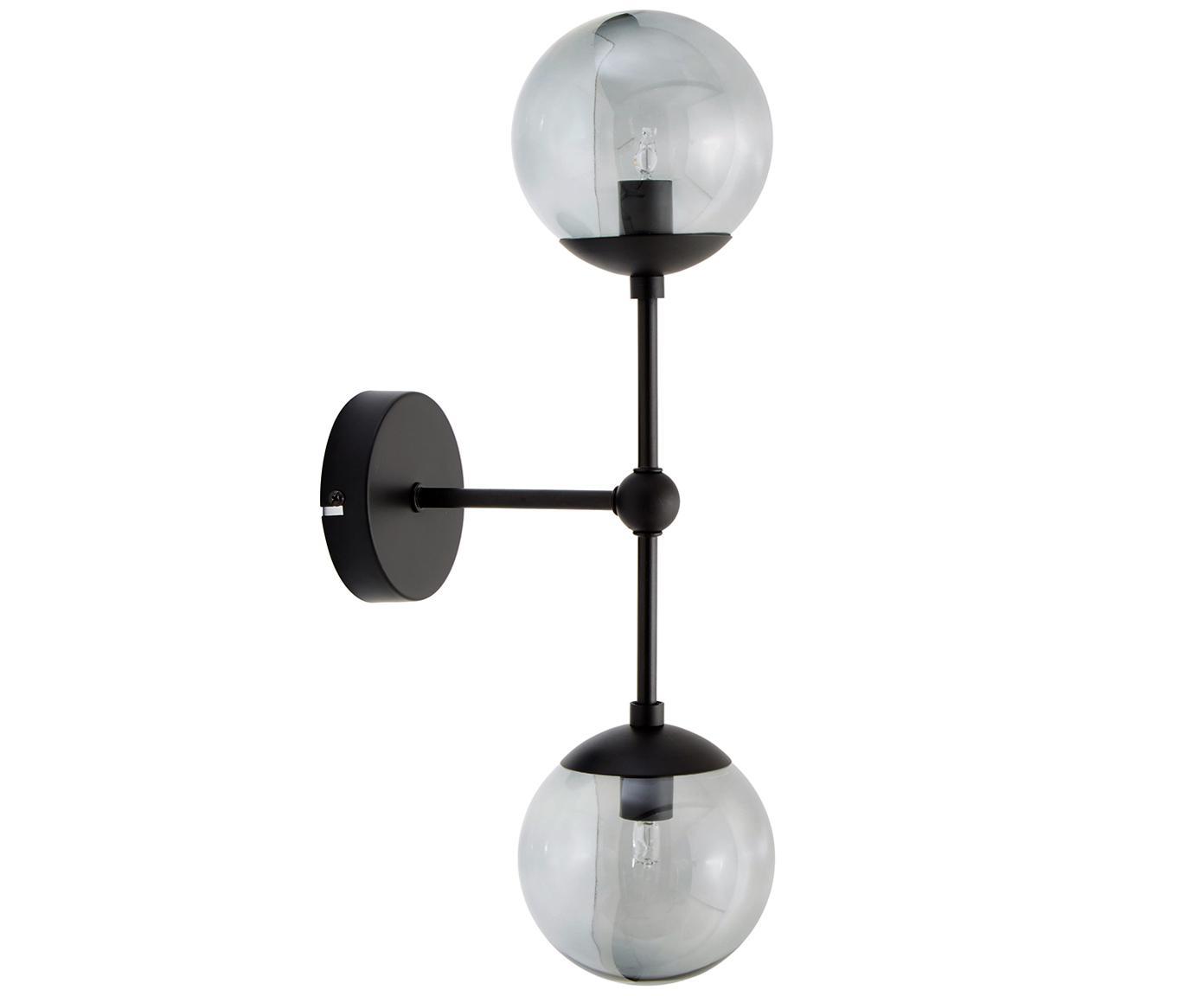 Wandleuchte Beth, Lampenschirm: Glas, Grau, Schwarz, Ø 12 x H 45 cm