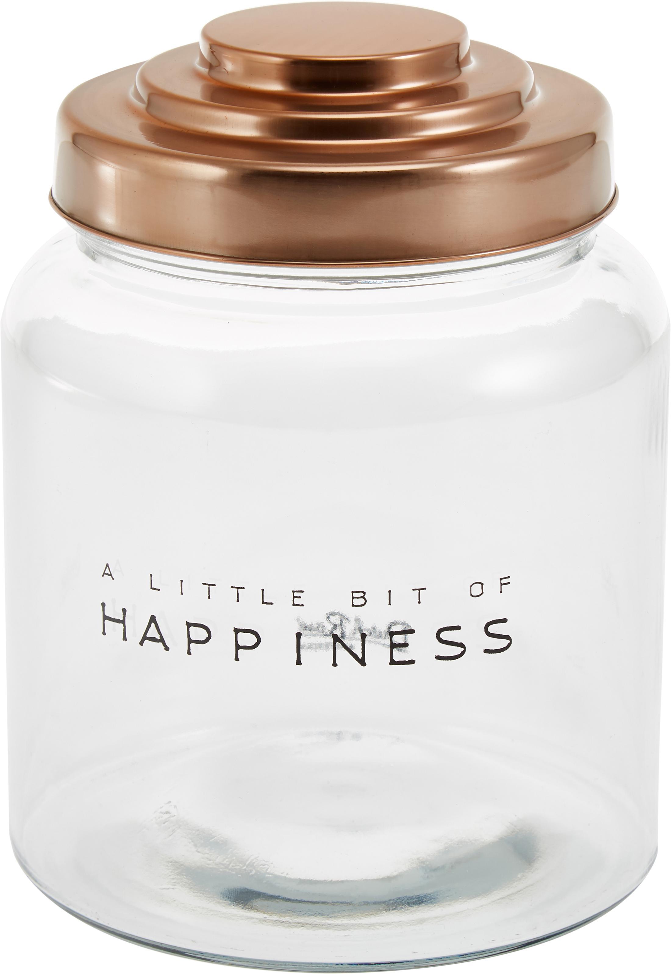 Contenitore Happiness, Contenitore: vetro, Coperchio: porcellana verniciato, Trasparente, Ø 16 x Alt. 21 cm