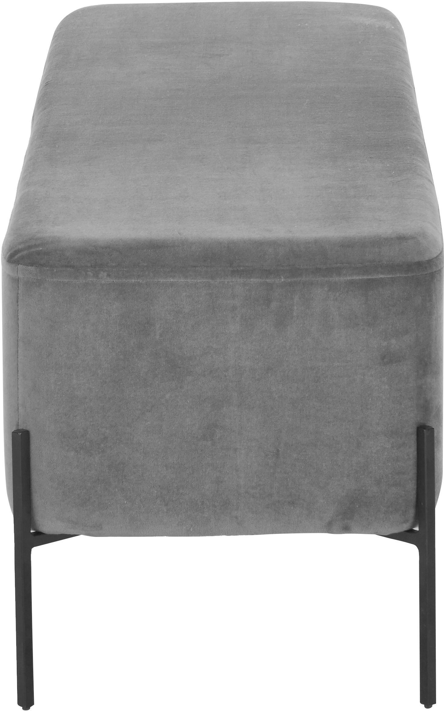 Banco de terciopelo Harper, Tapizado: terciopelo de algodón, Gris oscuro, negro, An 140 x Al 45 cm