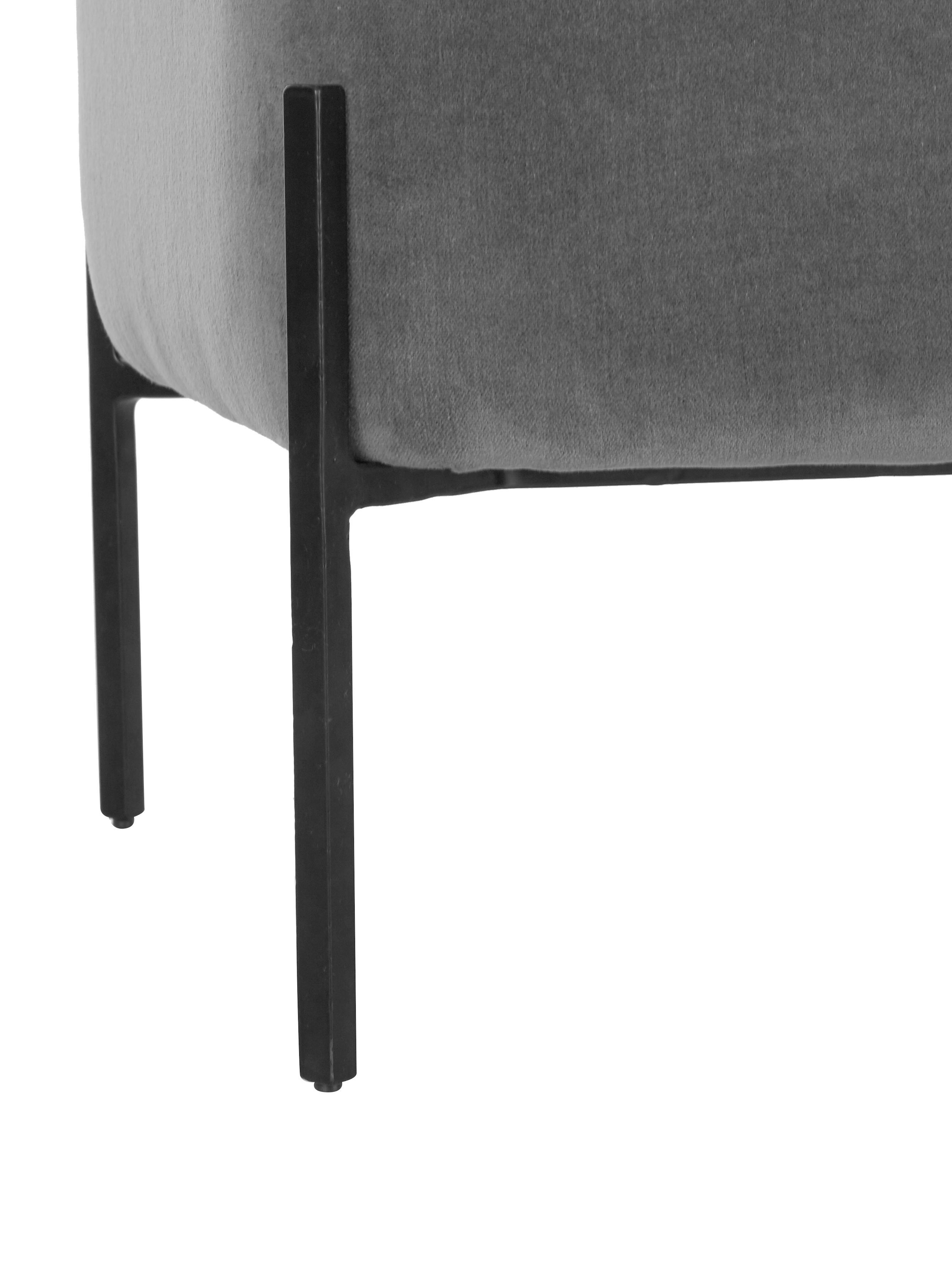 Panca imbottita in velluto Harper, Rivestimento: velluto, Rivestimento: grigio scuro Base: nero opaco, Larg. 140 x Alt. 45 cm