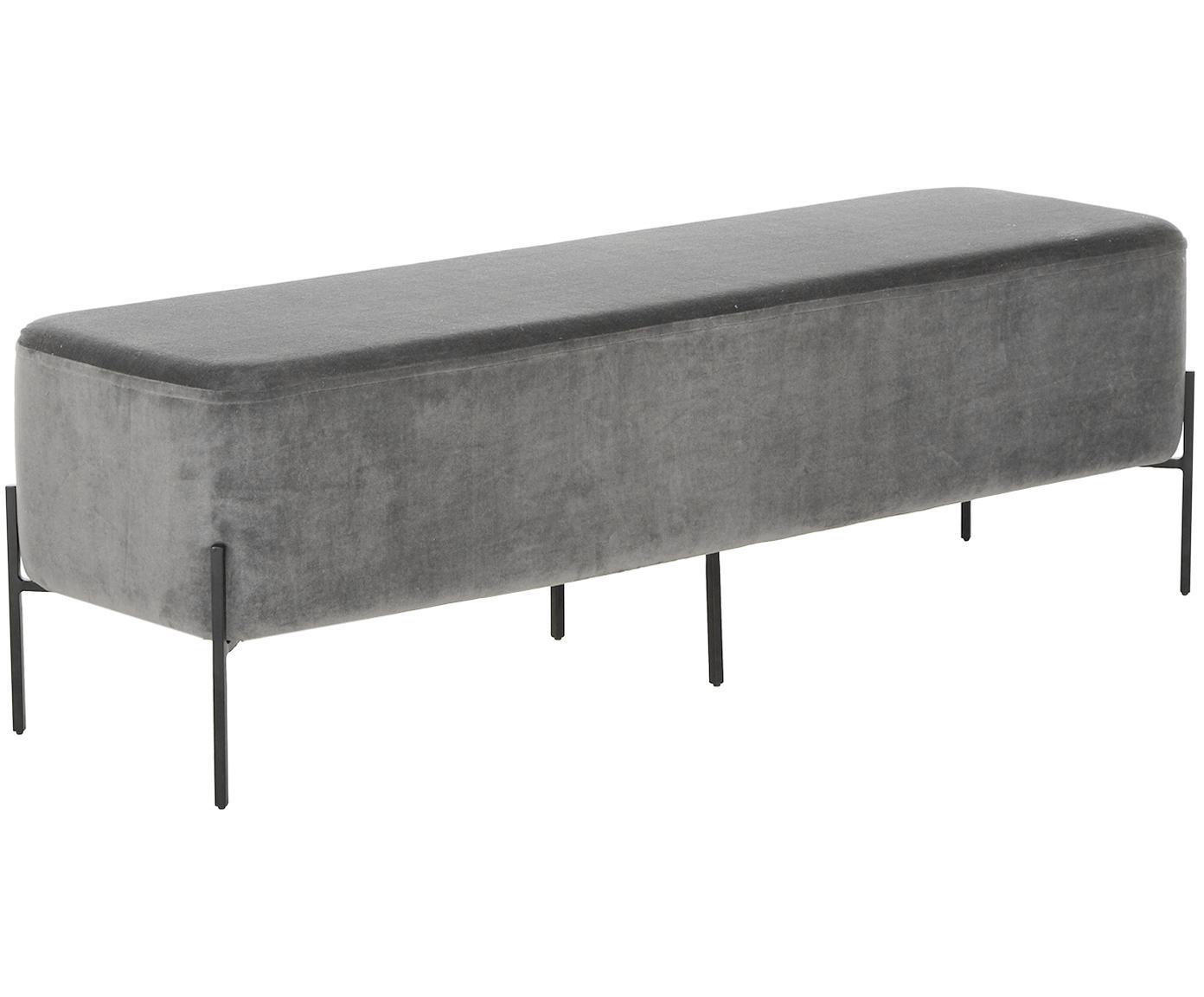 Samt-Polsterbank Harper, Bezug: Baumwollsamt, Fuß: Metall, pulverbeschichtet, Bezug: DunkelgrauFuß: Schwarz, matt, 140 x 45 cm