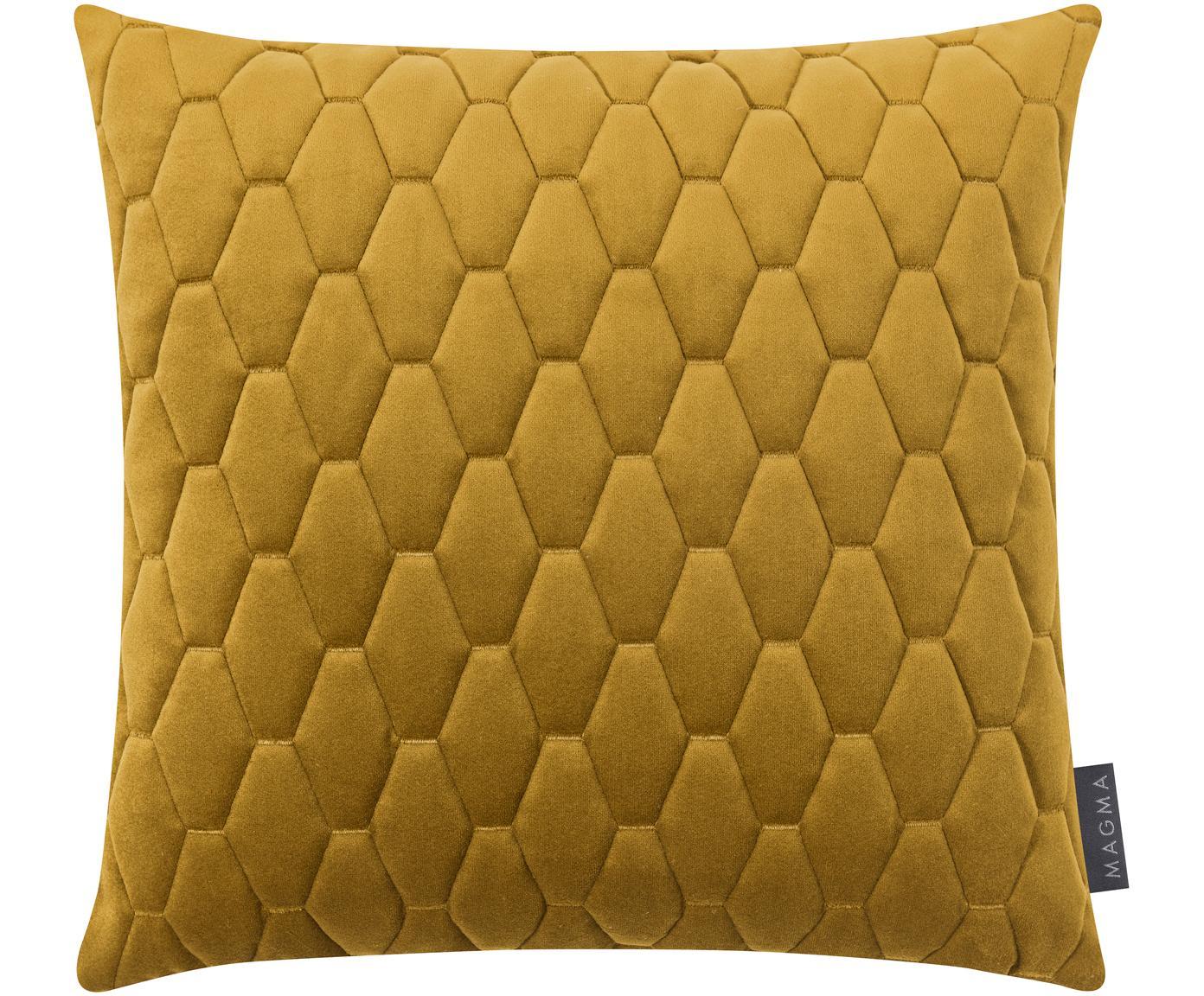 Poszewka na poduszkę z aksamitu Magali, Aksamit poliestrowy, Żółty, S 40 x D 40 cm