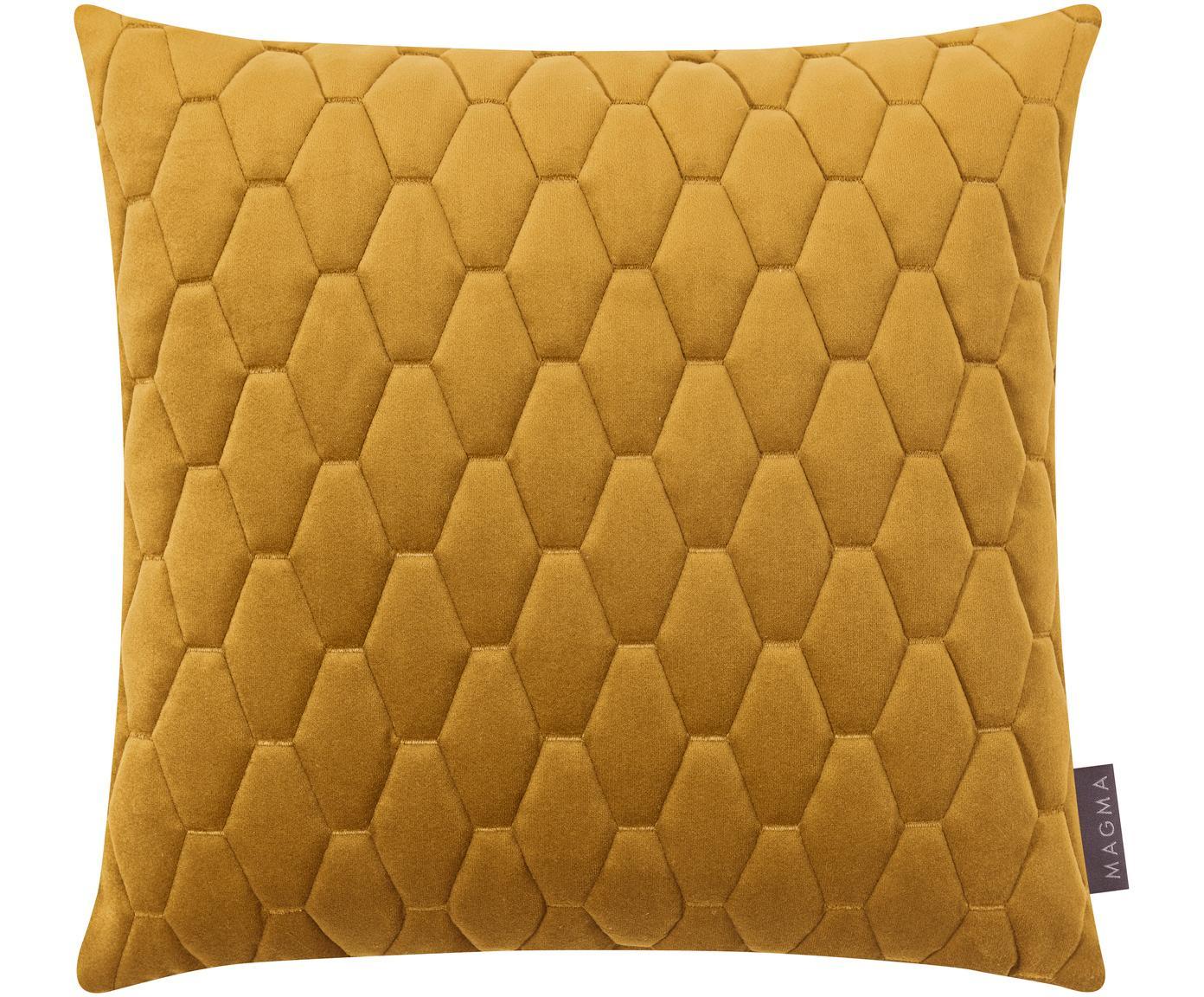 Federa arredo in velluto giallo senape Magali, Velluto di poliestere, Giallo ocra, Larg. 40 x Lung. 40 cm