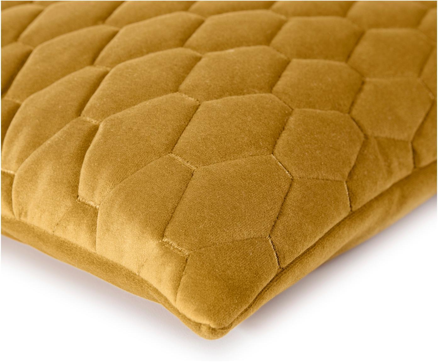 Sametový povlak na polštář Magali, Hořčičná žlutá
