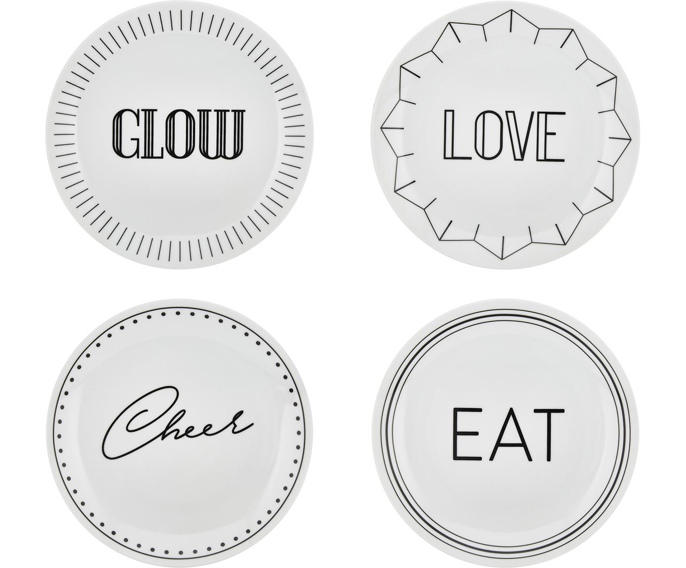 Porzellan Frühstücksteller Glimmer mit schwarzer Aufschrift, 4er-Set, Porzellan, Weiss, Schwarz, Ø 21 cm