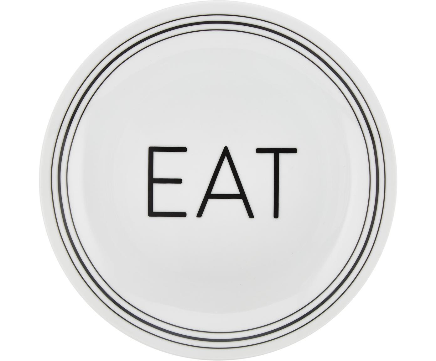 Porzellan Frühstücksteller Glimmer mit schwarzer Aufschrift, 4er-Set, Porzellan, Weiß, Schwarz, Ø 21 cm
