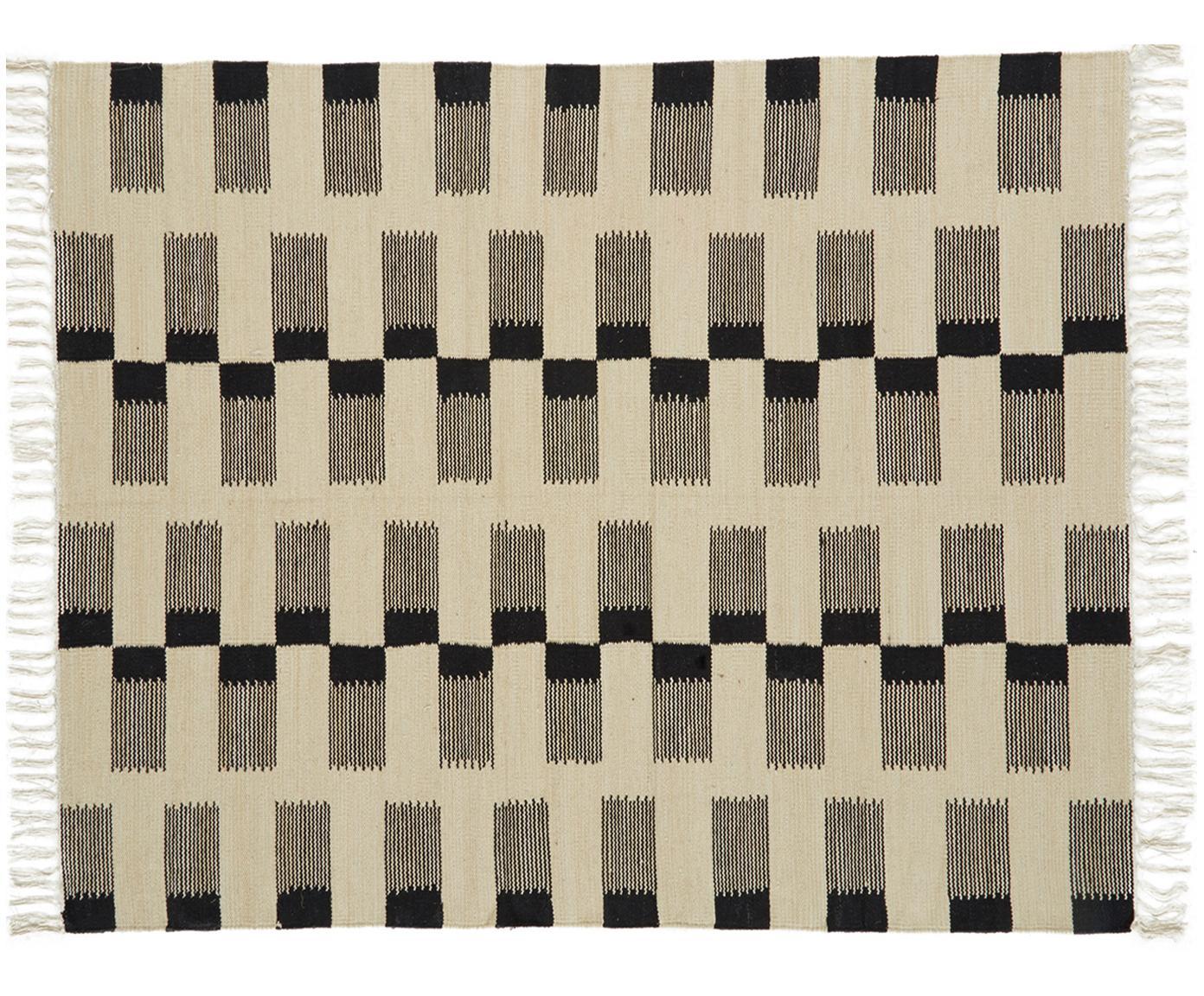 Teppich Grabig mit Blockmuster in Beige-Schwarz, Beige, Schwarz, B 130 x L 170 cm (Grösse S)