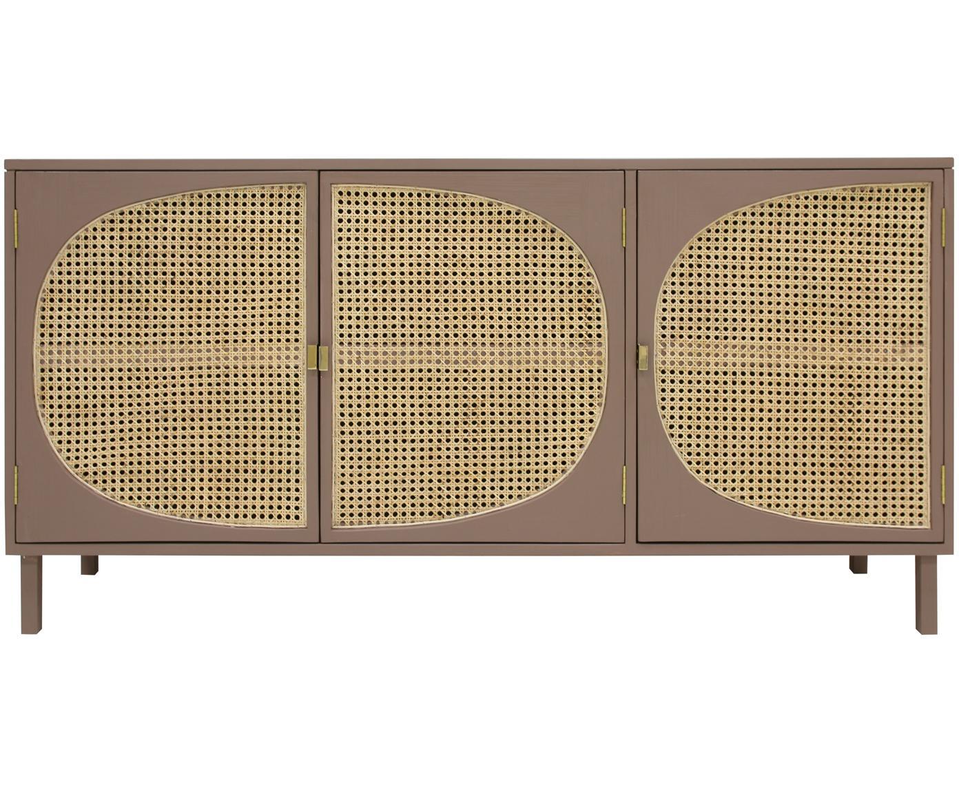Sideboard Retro mit Wiener Geflecht, Wiener Geflecht: Zuckerrohr, Griffe: Metall, beschichtet, Braun, Beige, 160 x 81 cm
