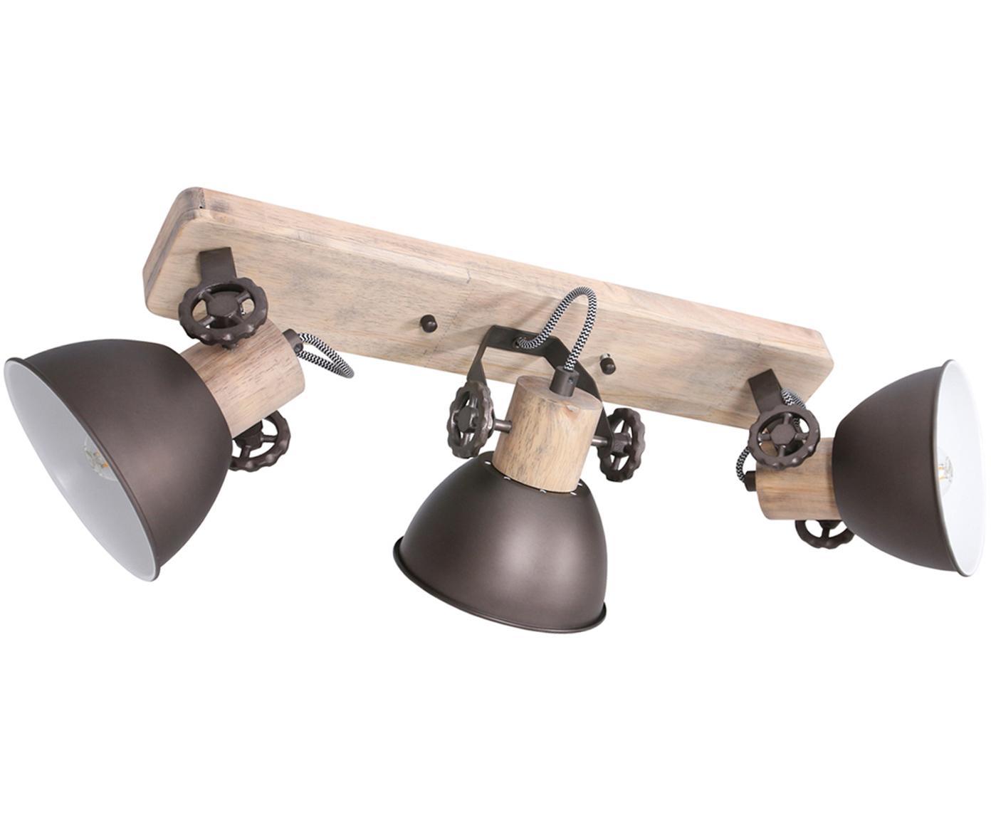 Plafondspot Gearwood, Hout, gelakt metaal, Houtkleurig, antraciet, 59 x 19 cm