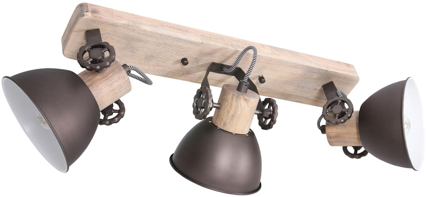 Deckenstrahler Gearwood, Lampenschirm: Metall, lackiert, Holz, Anthrazit, 59 x 19 cm