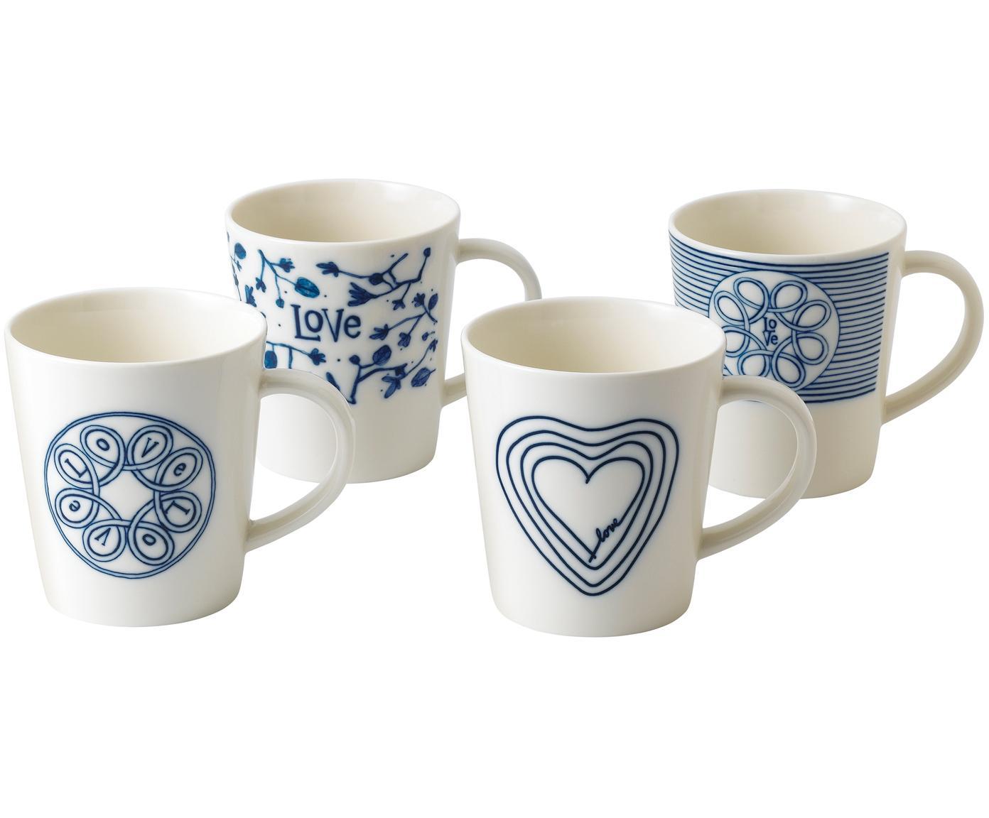 Tassen Love, 4er-Set, Porzellan, Elfenbein, Kobaltblau, Ø 10 x H 11 cm