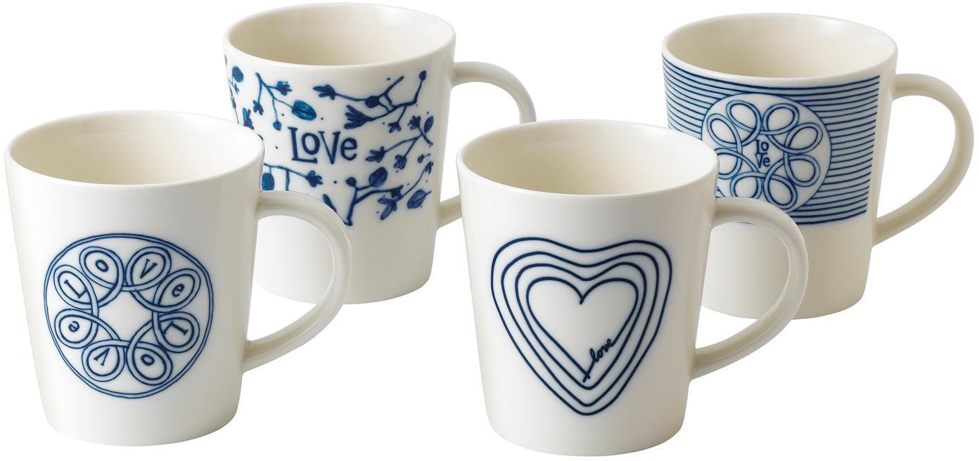 Gemusterte Tassen Love in Weiss/Blau, 4er-Set, Porzellan, Elfenbein, Kobaltblau, Ø 10 x H 11 cm