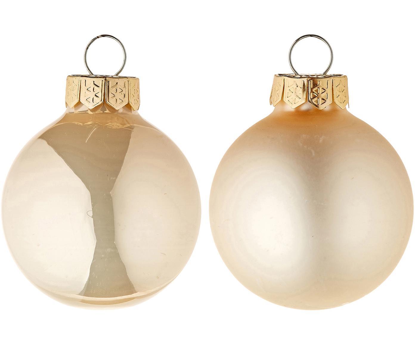 Mini-kerstballenset Evergreen, 16-delig, Crèmekleurig, Ø 4 cm