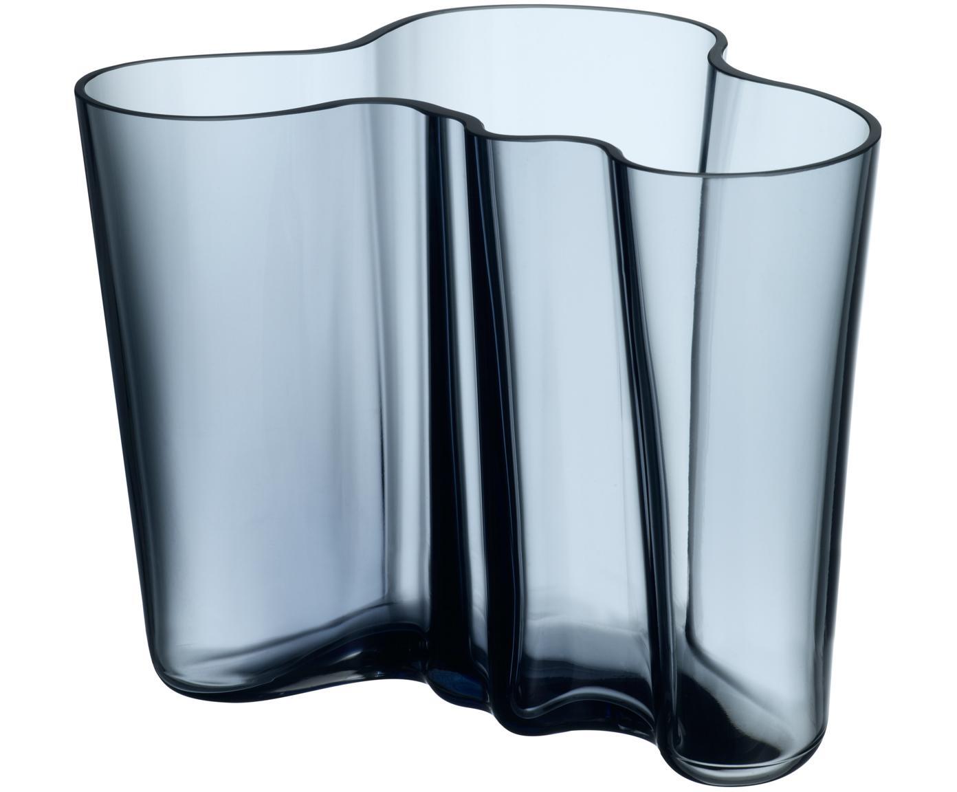 Vaso Alvar Aalto, Vetro, Pioggia blu, A 16 cm